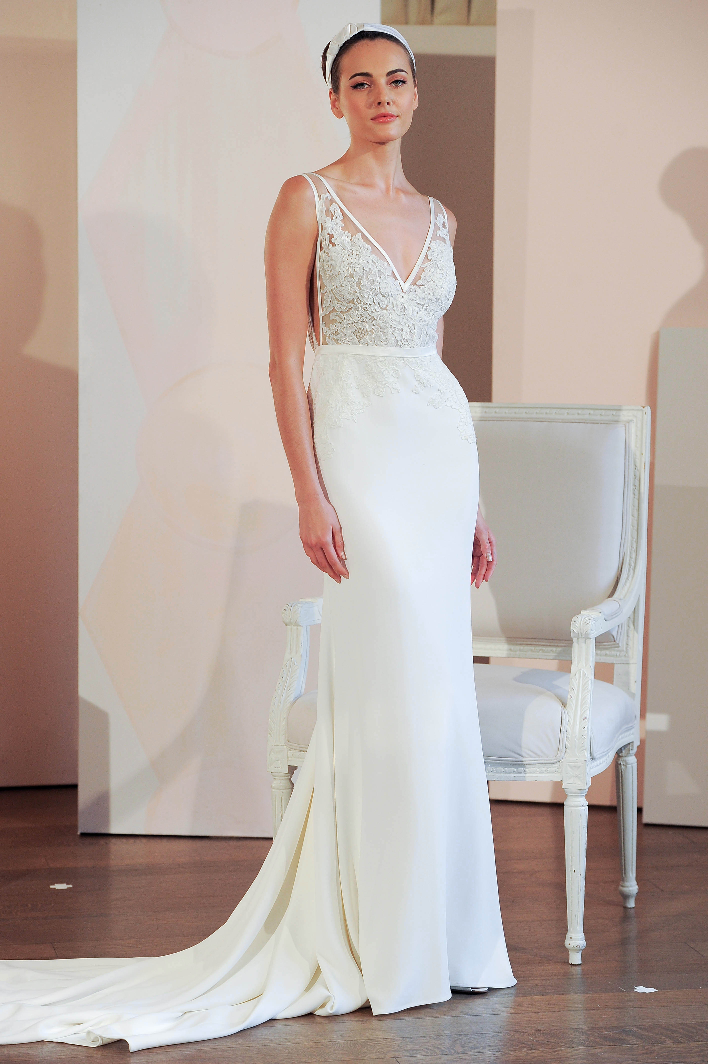 anne barge lace v-neck wedding dress spring 2018