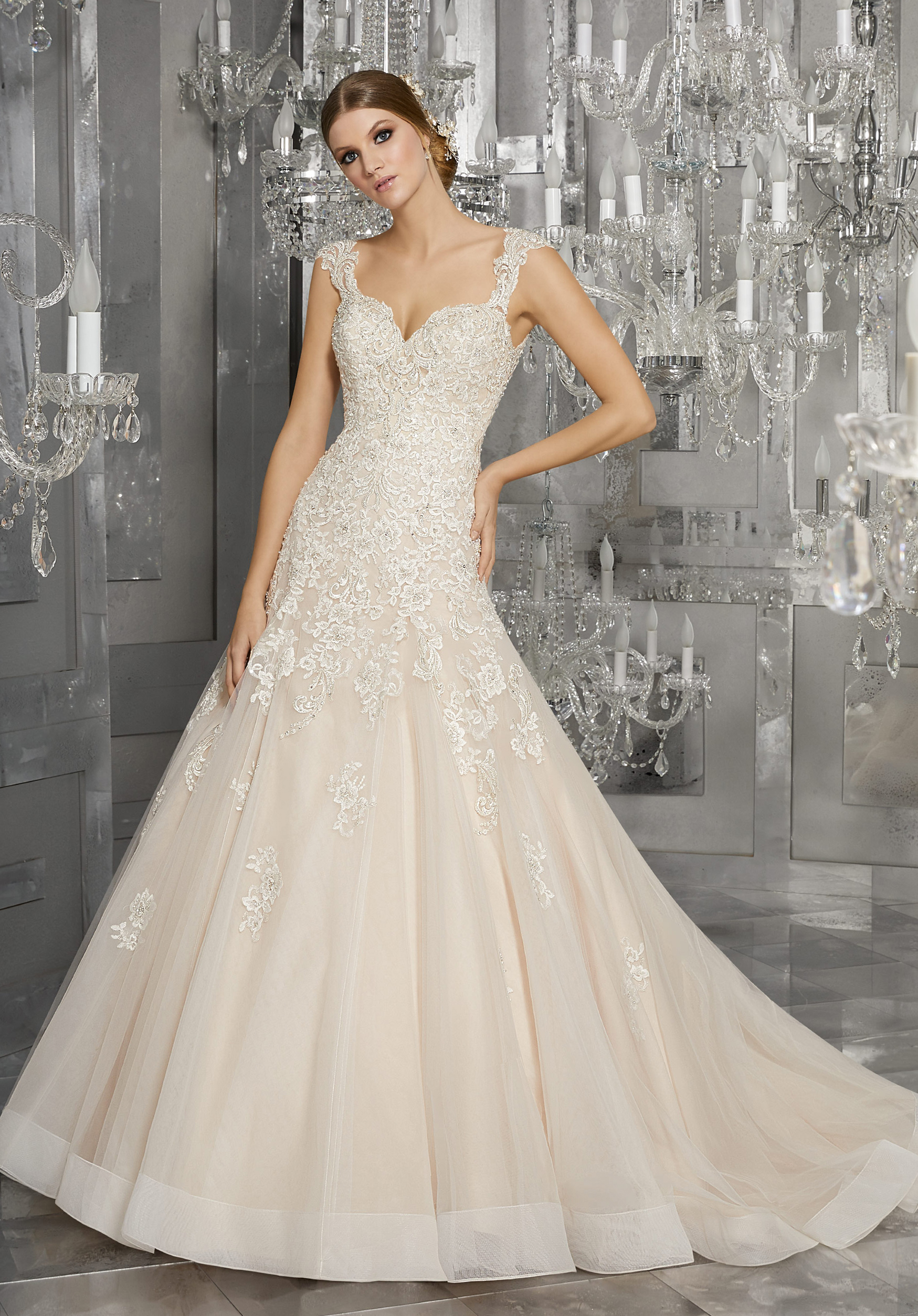 morilee wedding dress spring 2018 v-neck embellished a-line
