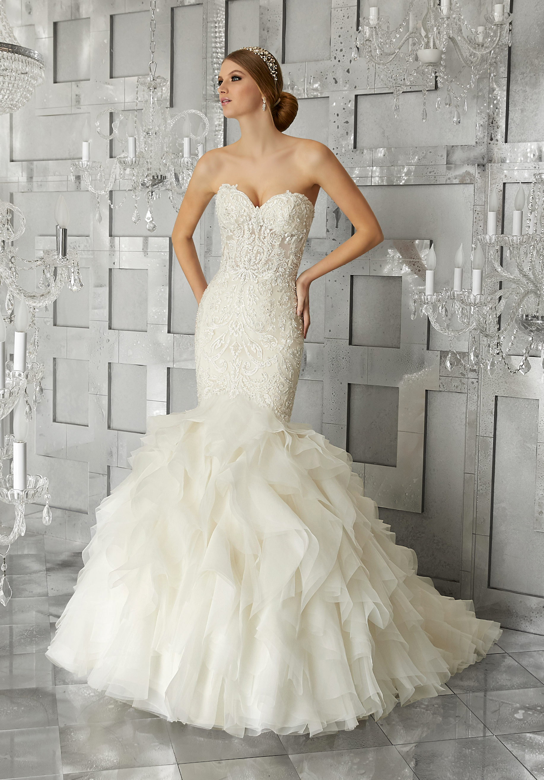 morilee wedding dress spring 2018 sweetheart mermaid ruffled