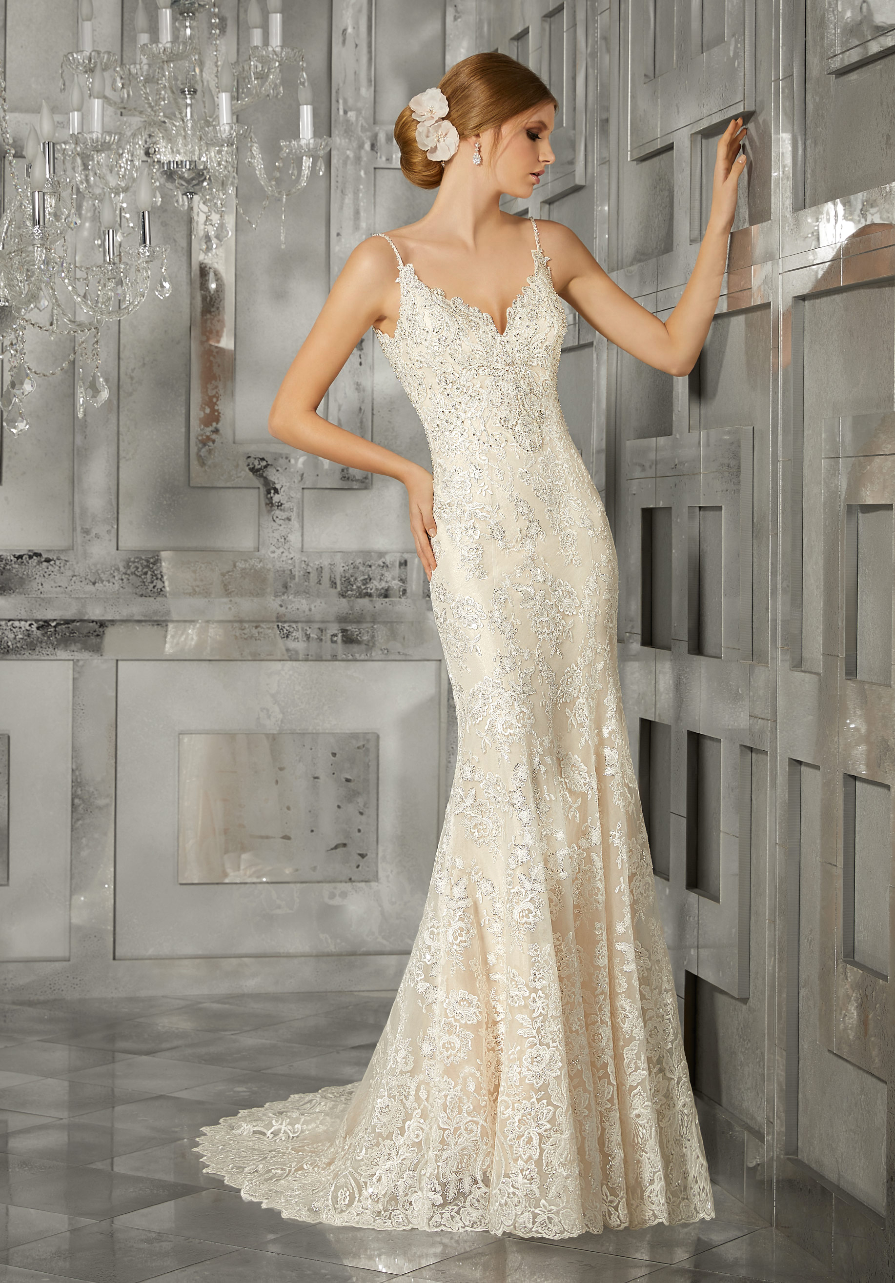morilee wedding dress spring 2018 spaghetti strap sheath