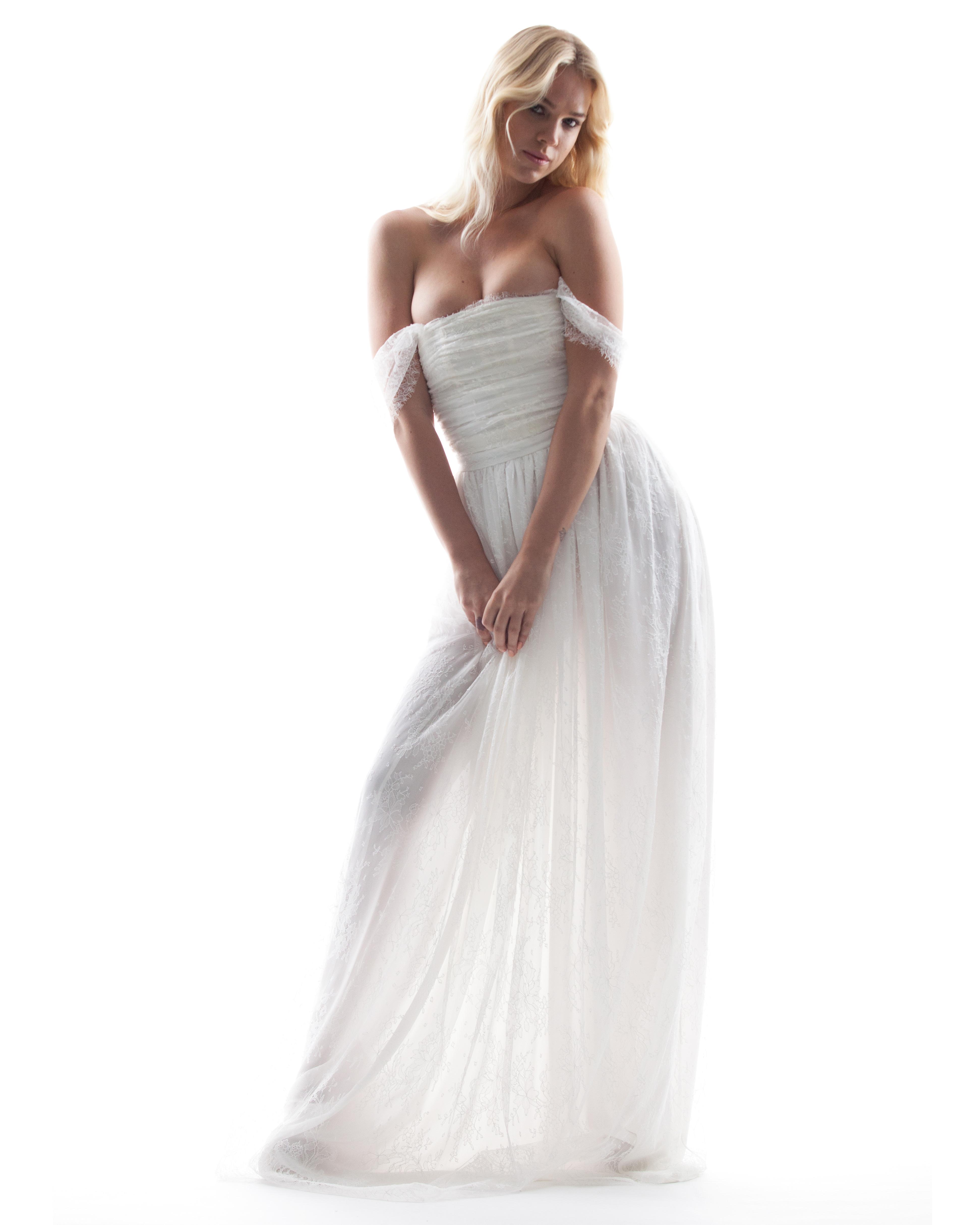 houghton off-the-shoulder wedding dress spring 2018