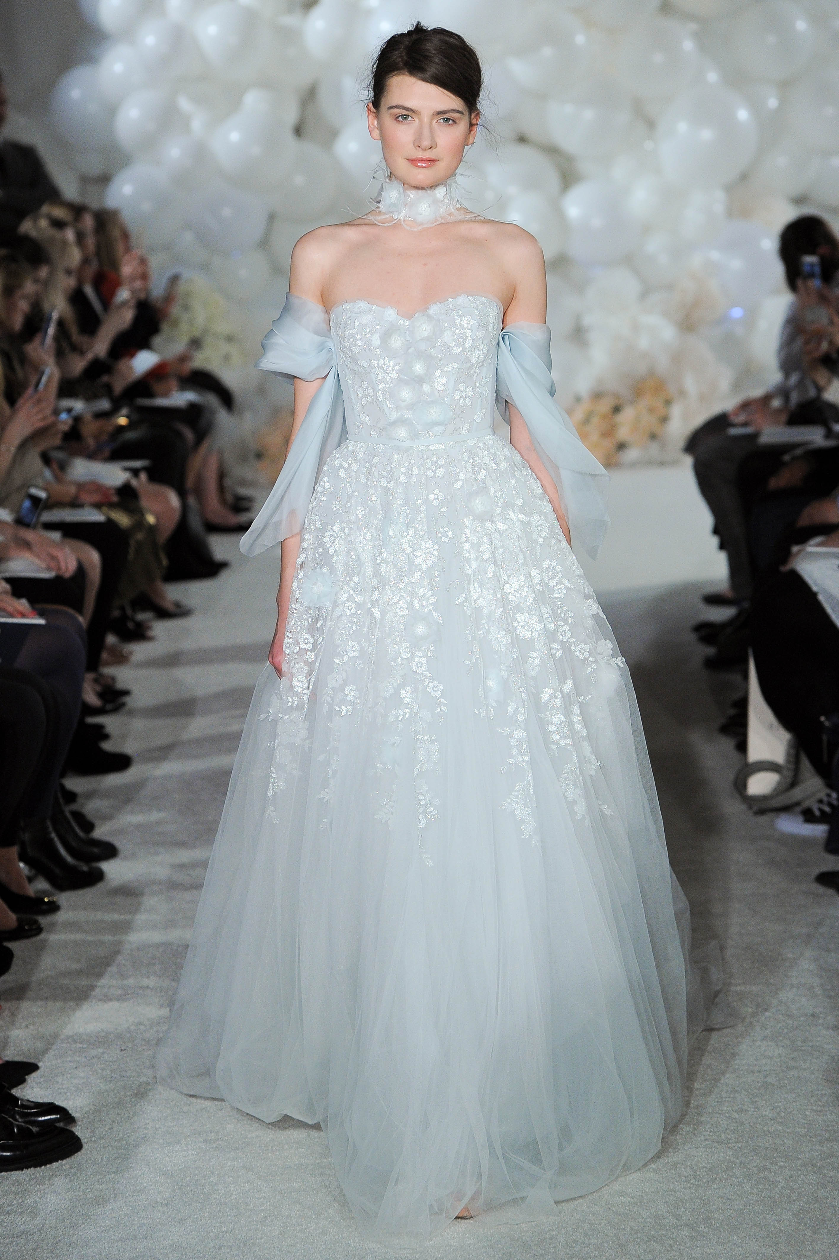mira zwillinger blue wedding dress spring 2018 tulle off-the-shoulder