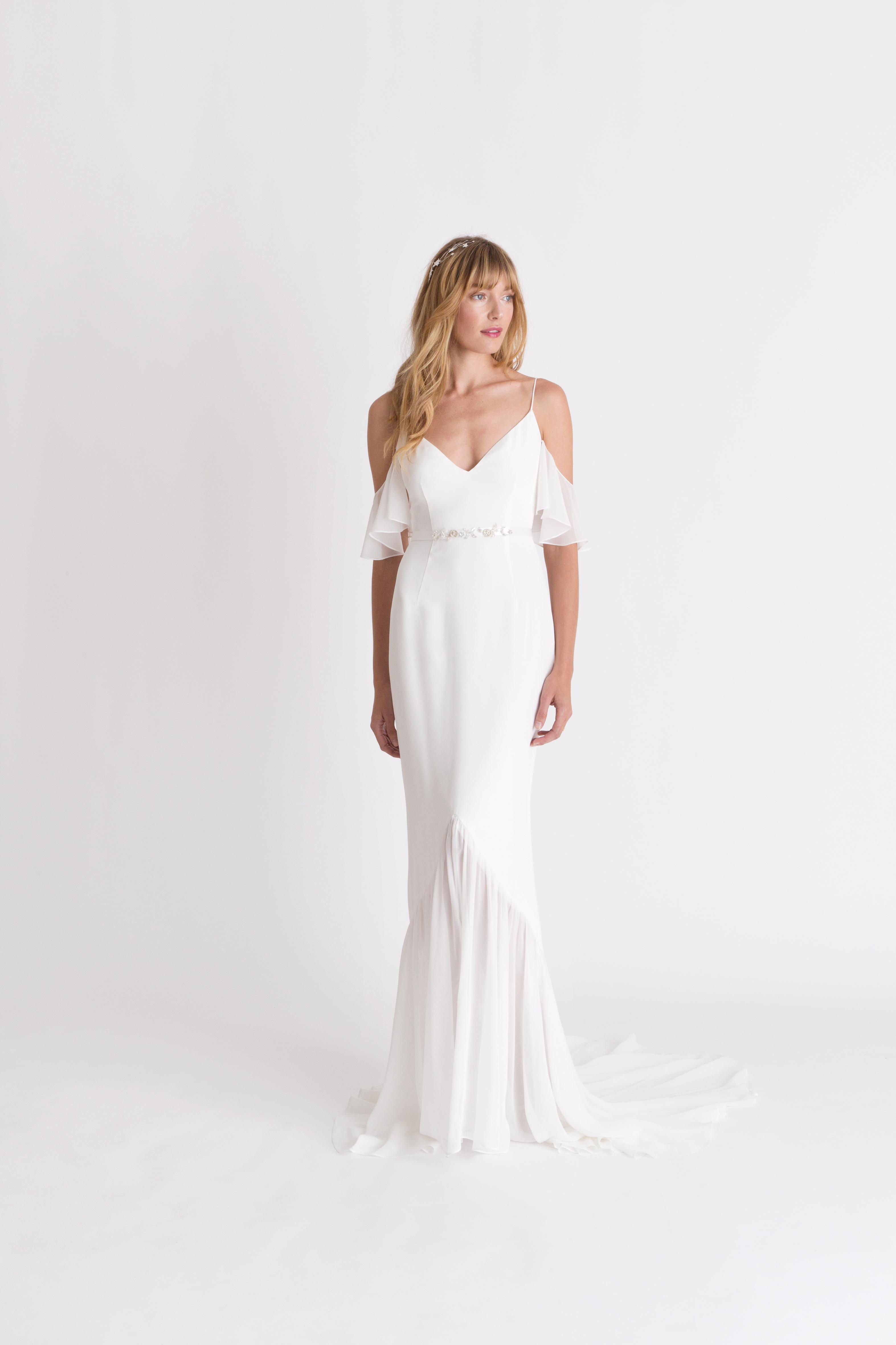 alexandra grecco spaghetti strap flutter sleve wedding dress spring 2018