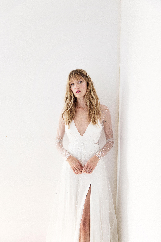 alexandra grecco v-neck long sleeve wedding dress spring 2018