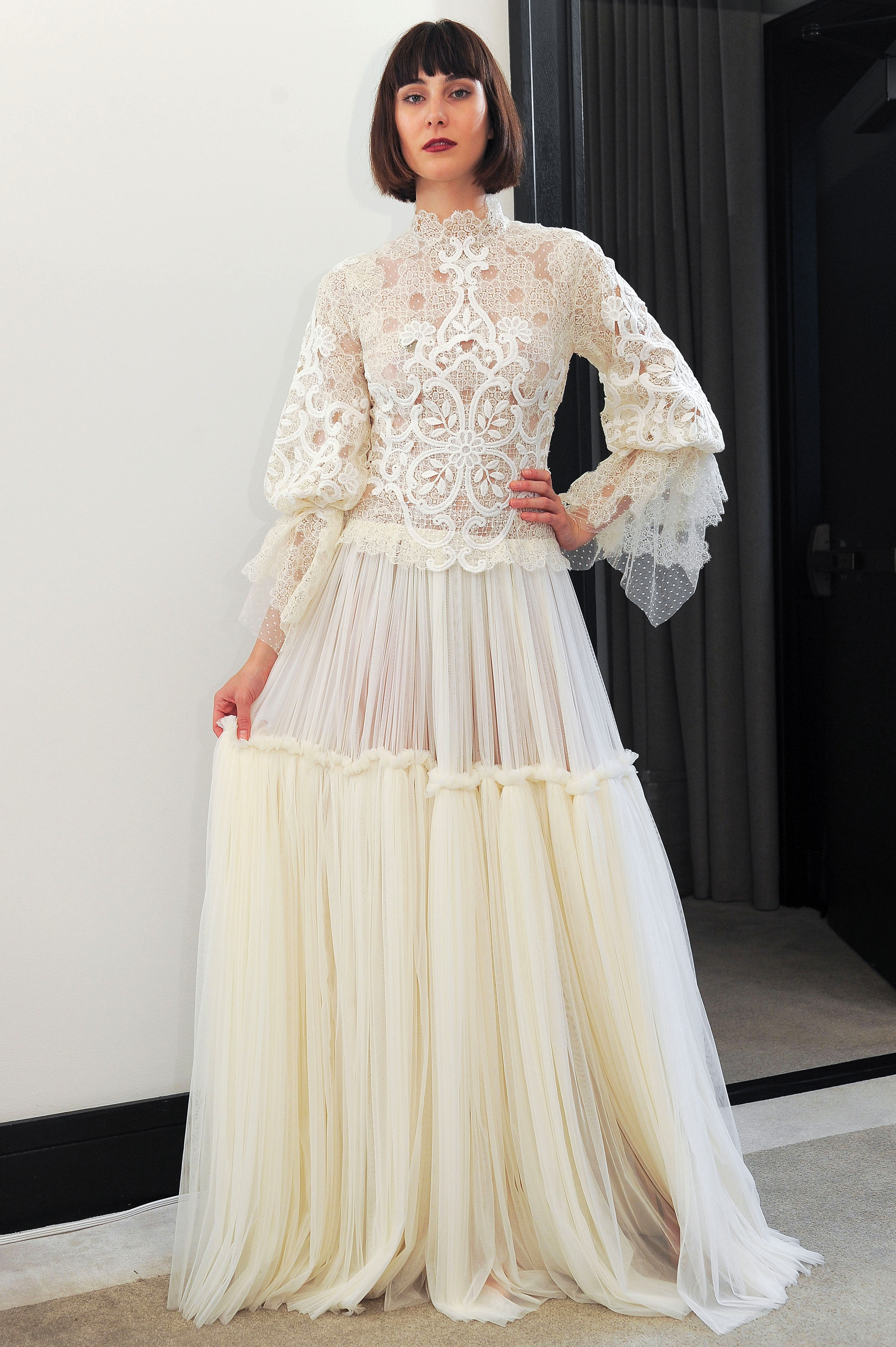 costarellos lace high neck three-quarter length sleeves wedding dress spring 2018