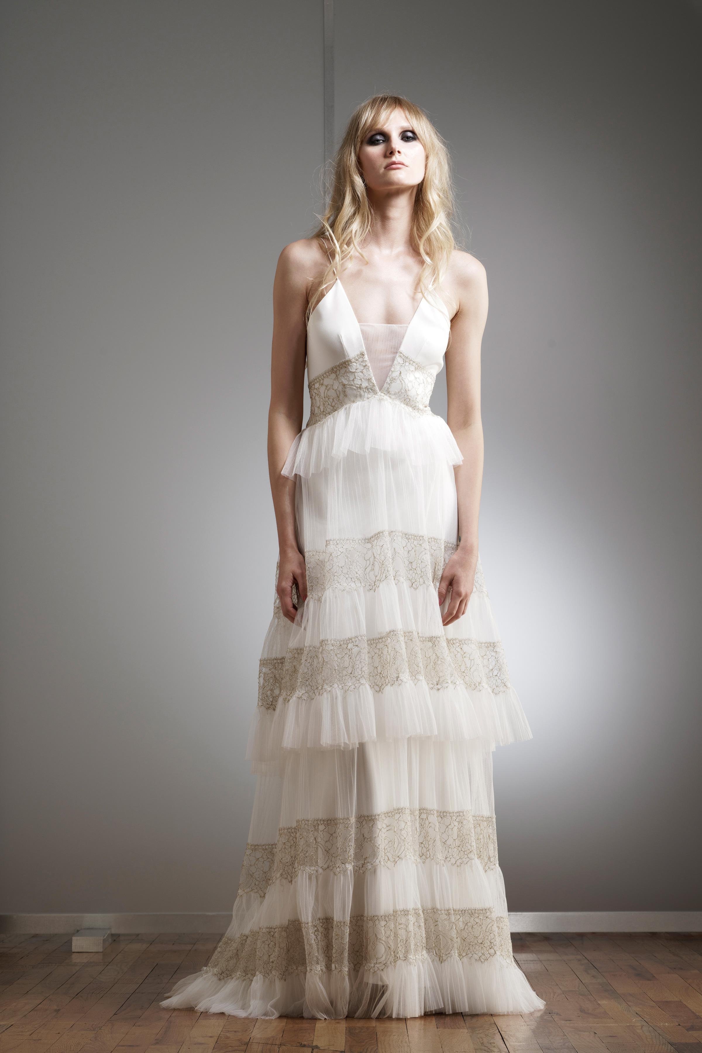 elizabeth fillmore v-neck tiered wedding dress spring 2018
