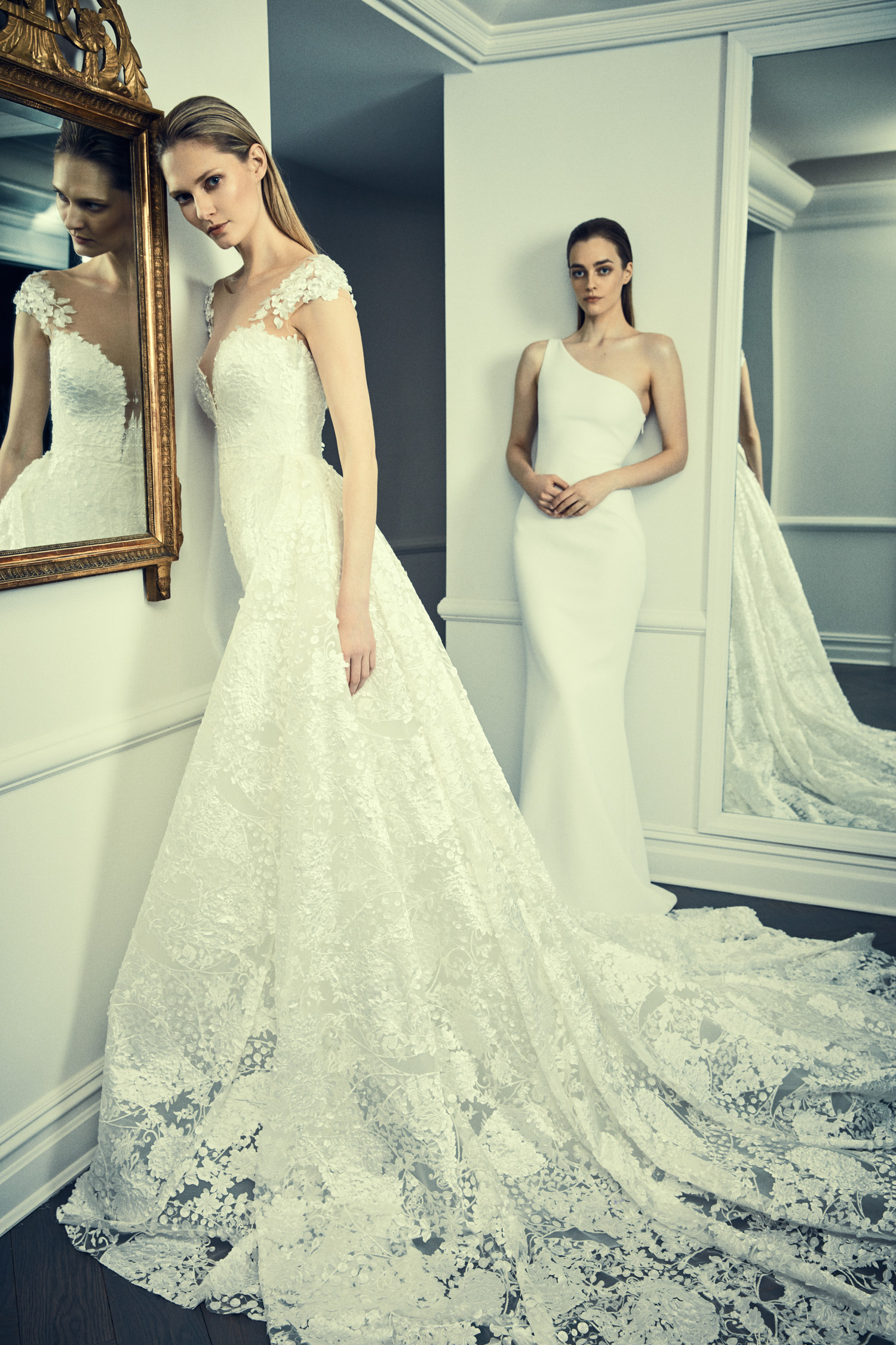 romona keveza collection wedding dress spring 2018 lace and one shoulder