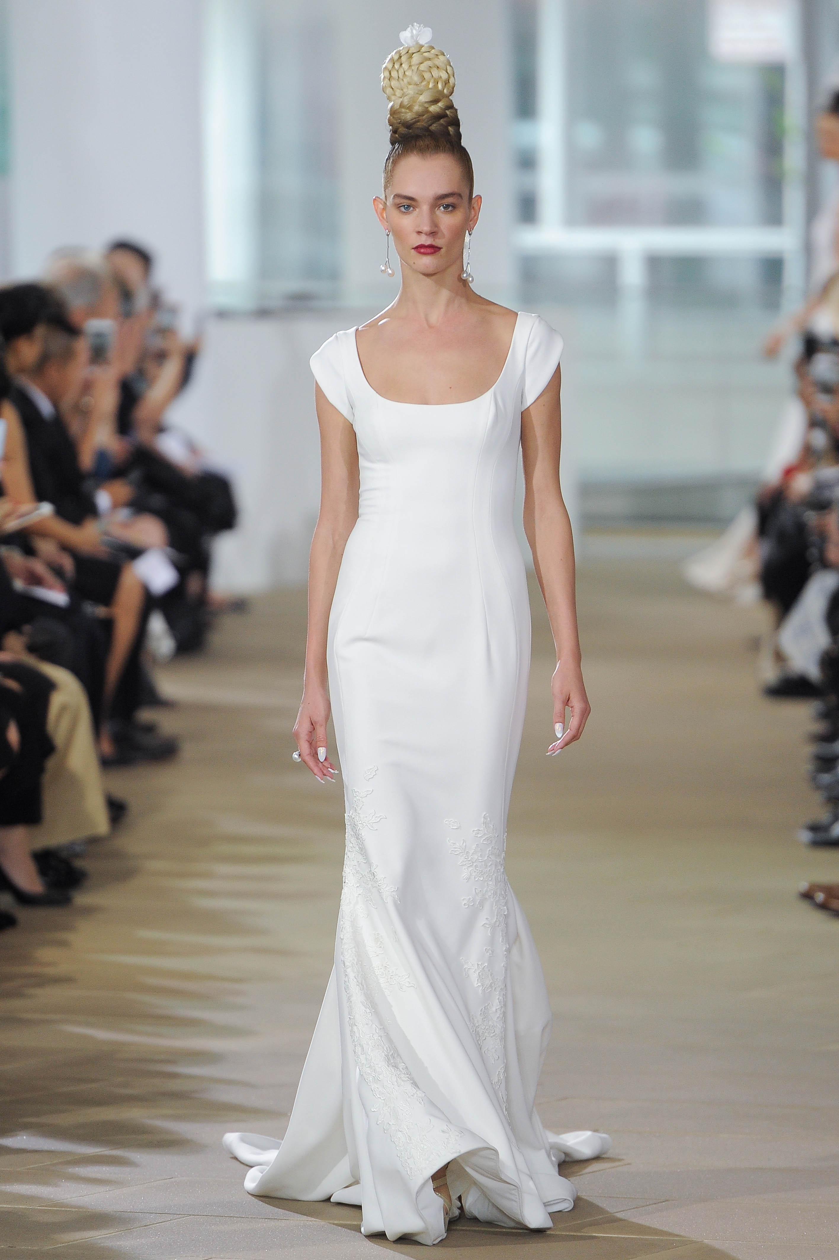 Ines Di Santo Sheath Wedding Dress with Cap Sleeves Spring 2018
