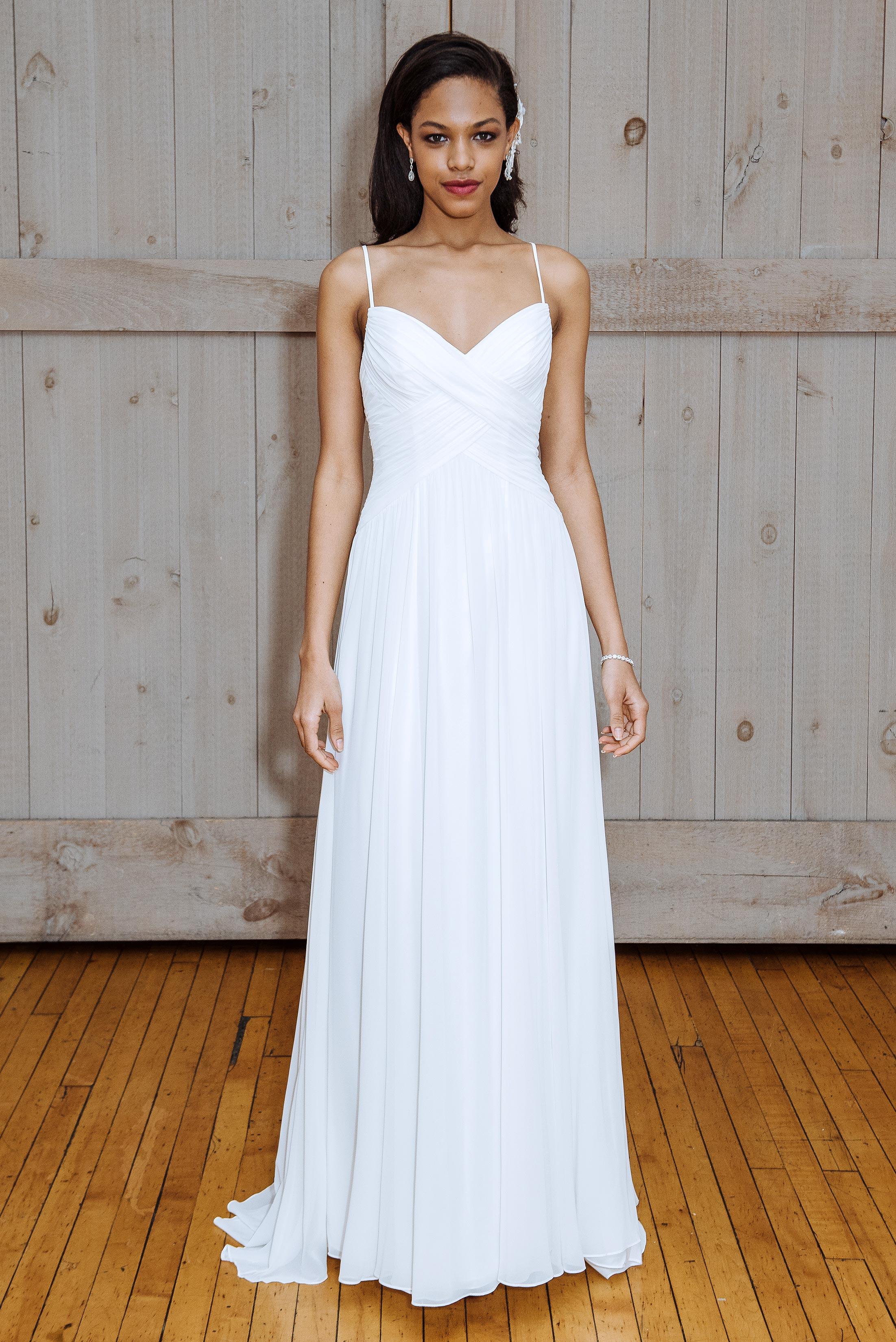 david's bridal spaghetti strap sheath wedding dress spring 2018