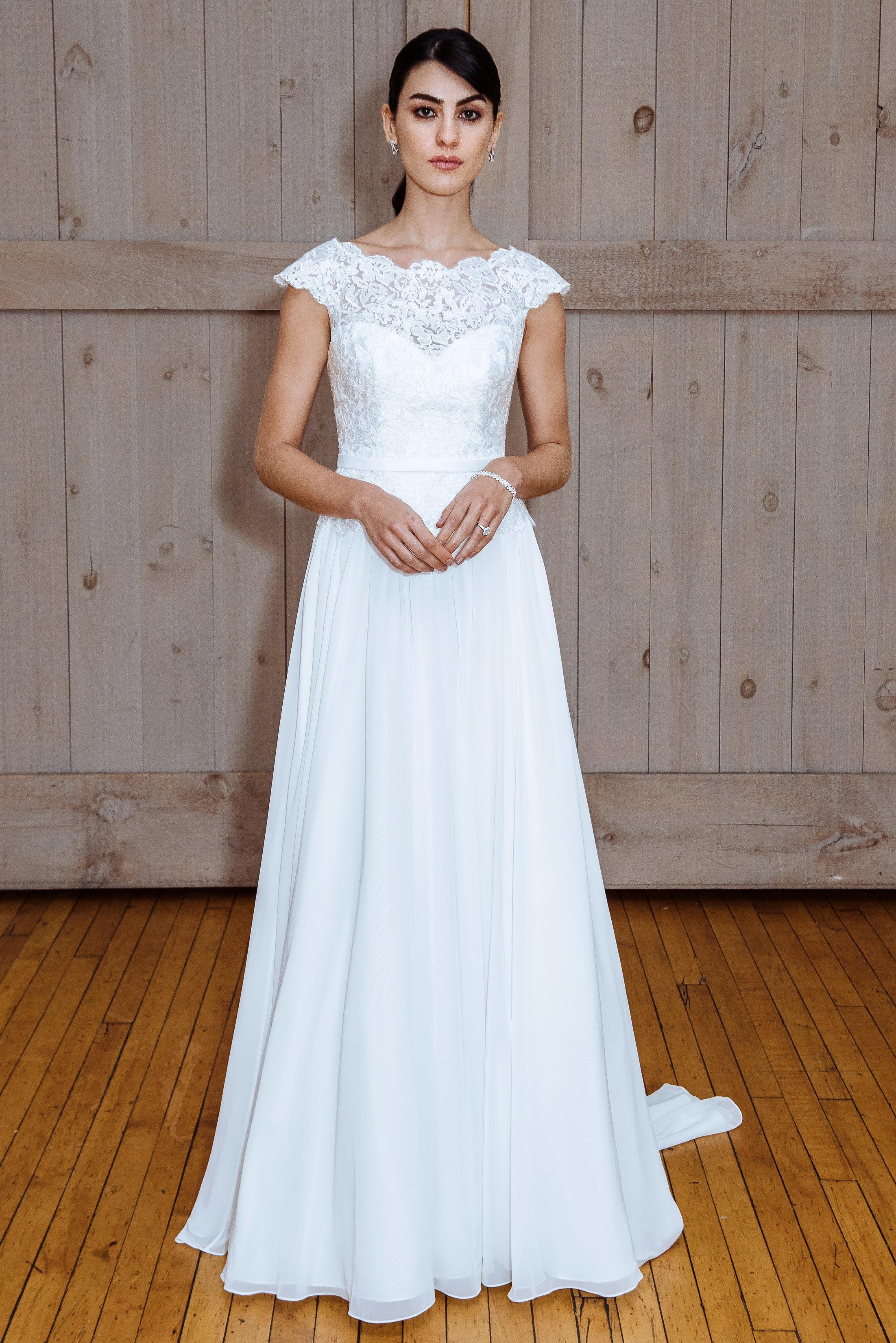 david's bridal cap sleeve a-line wedding dress spring 2018