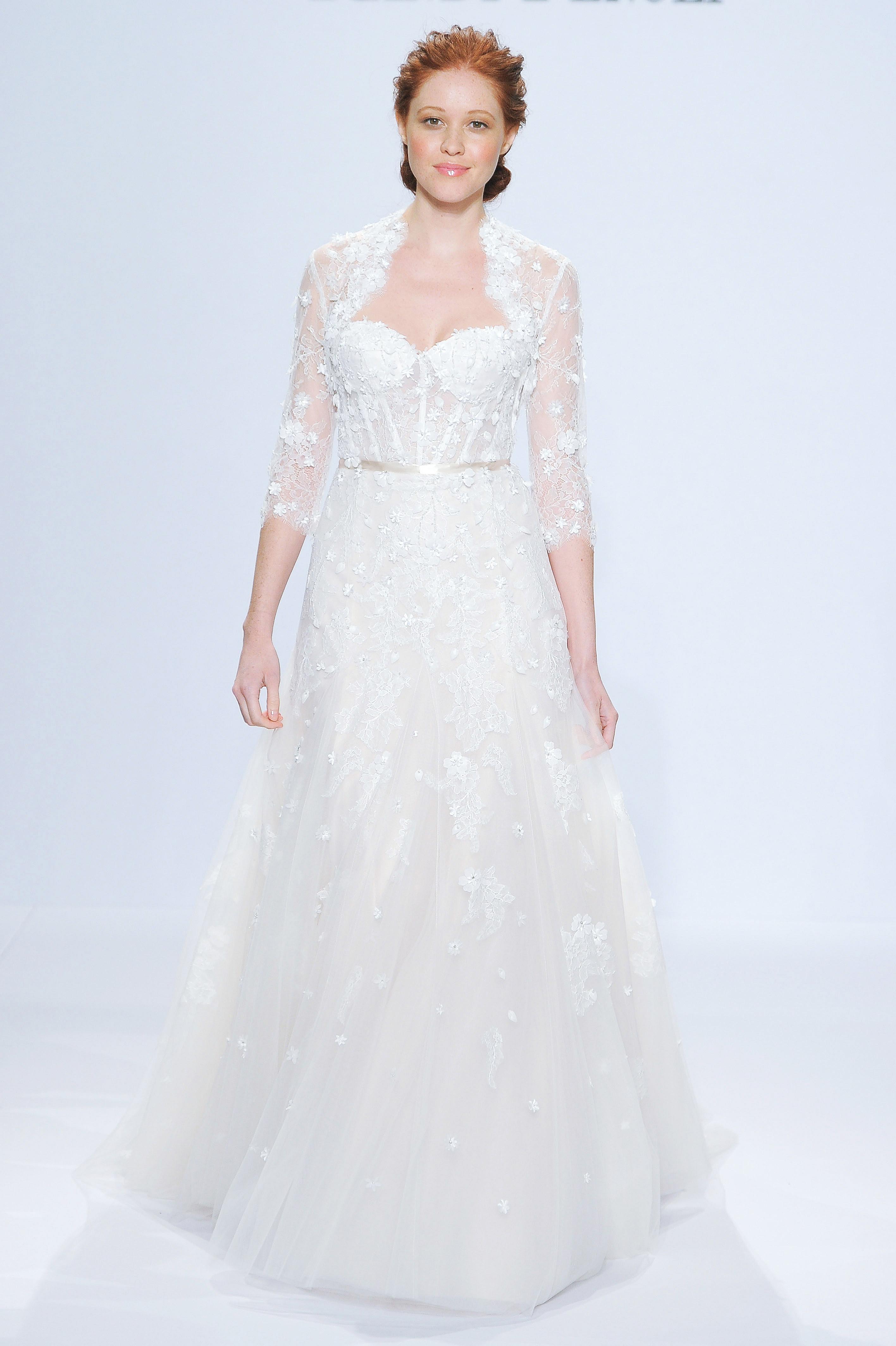 randy fenoli three-quarter sleeve wedding dress spring 2018