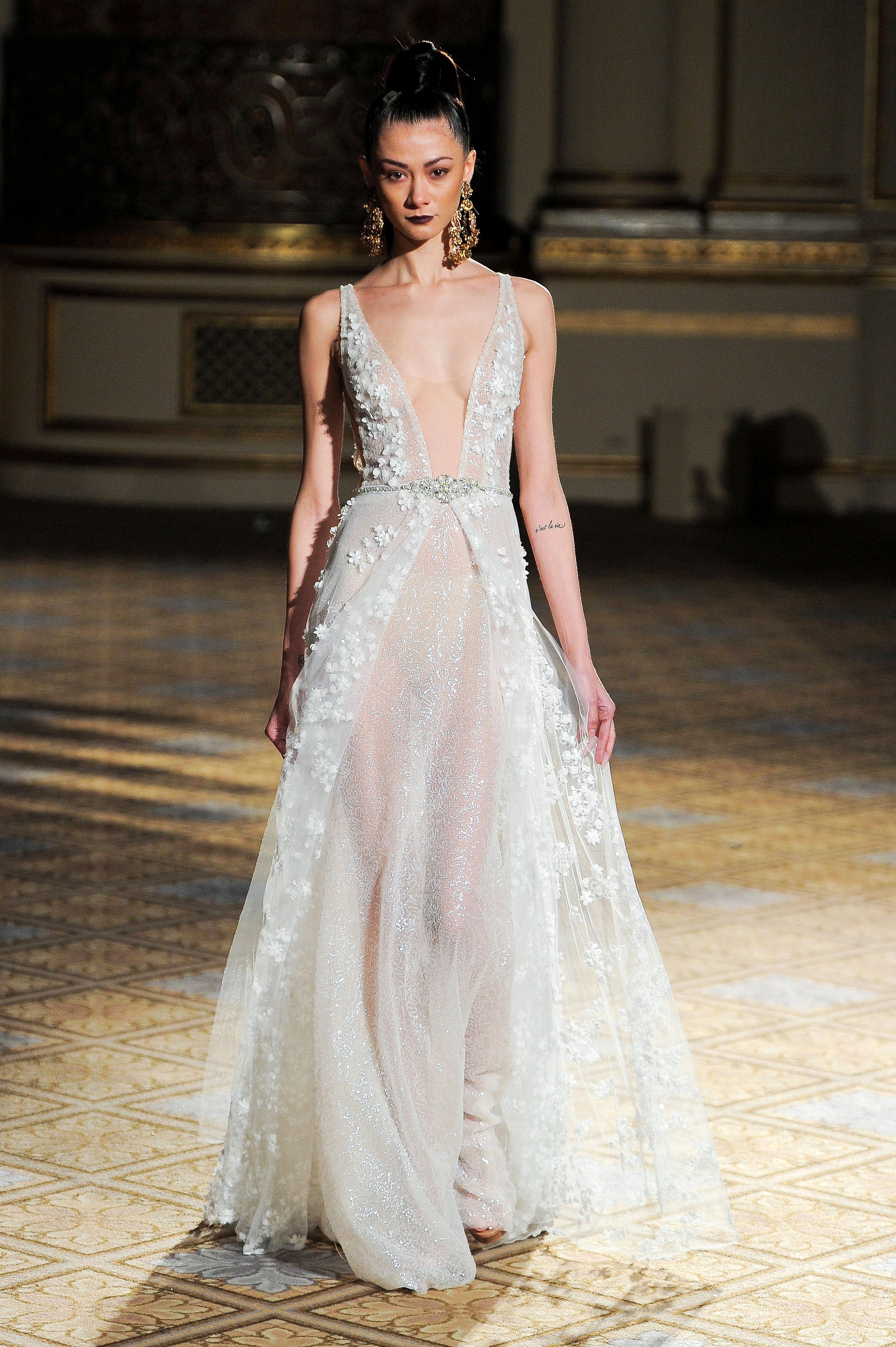 berta v-neck flowers detail wedding dress spring 2018