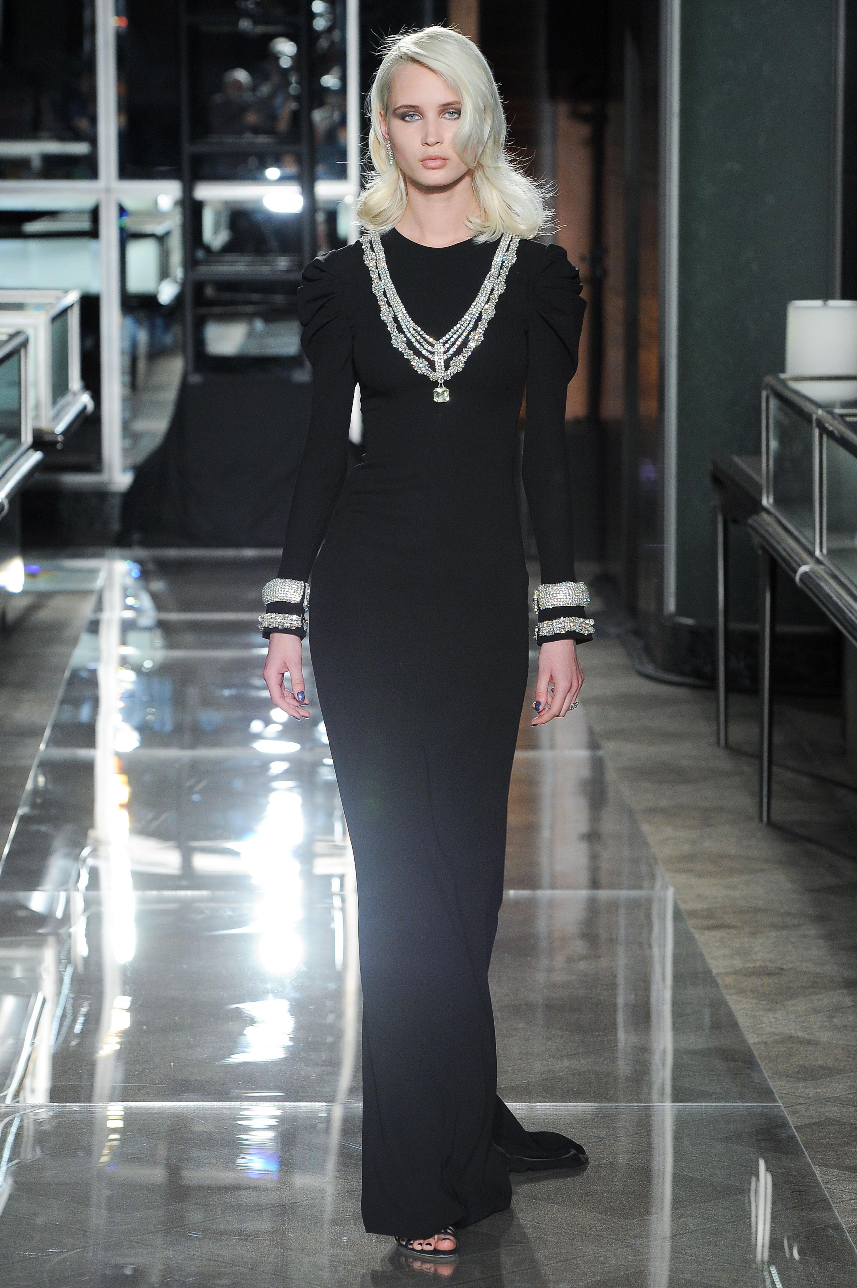 reem acra spring 2018 black wedding dress with long sleeve