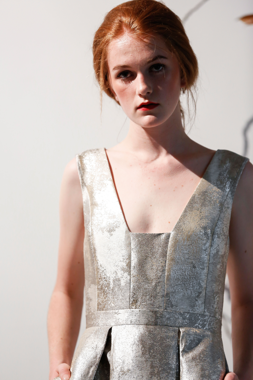 Mason Hosker metallic silver wedding dress spring 2018