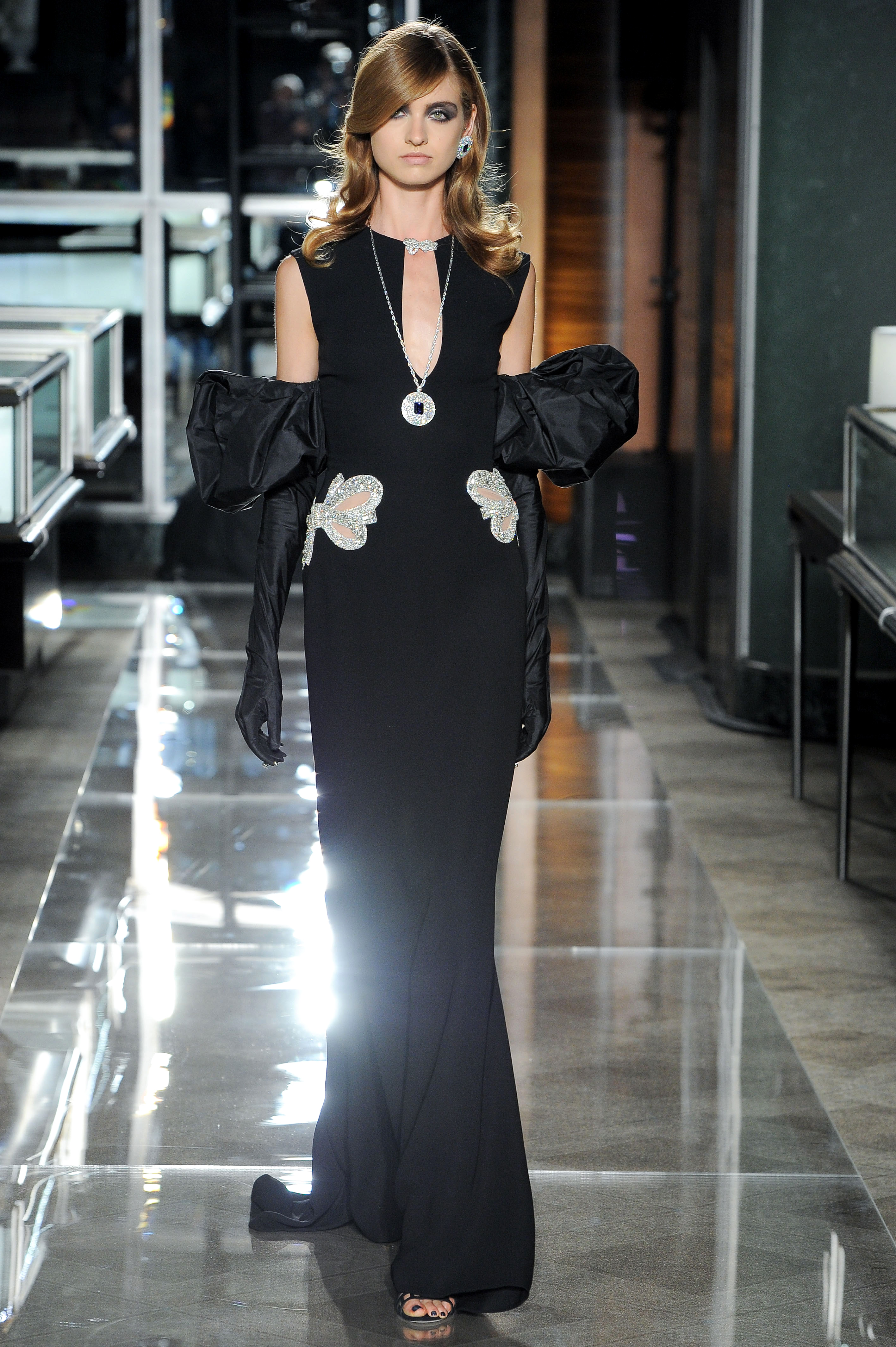 reem acra spring 2018 black wedding dress with keyhole neckline and dramatic gloves