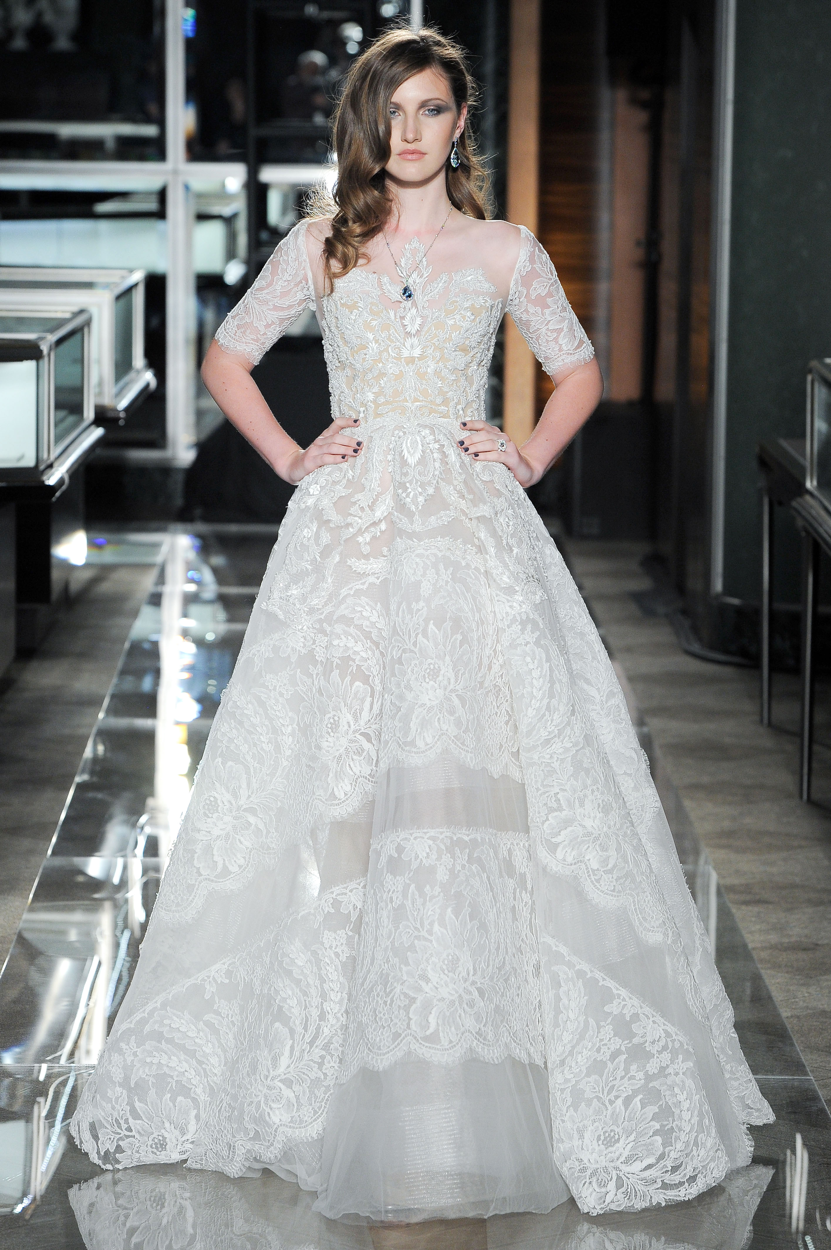 reem acra spring 2018 a-line lace wedding dress with three-quarter length sleeves