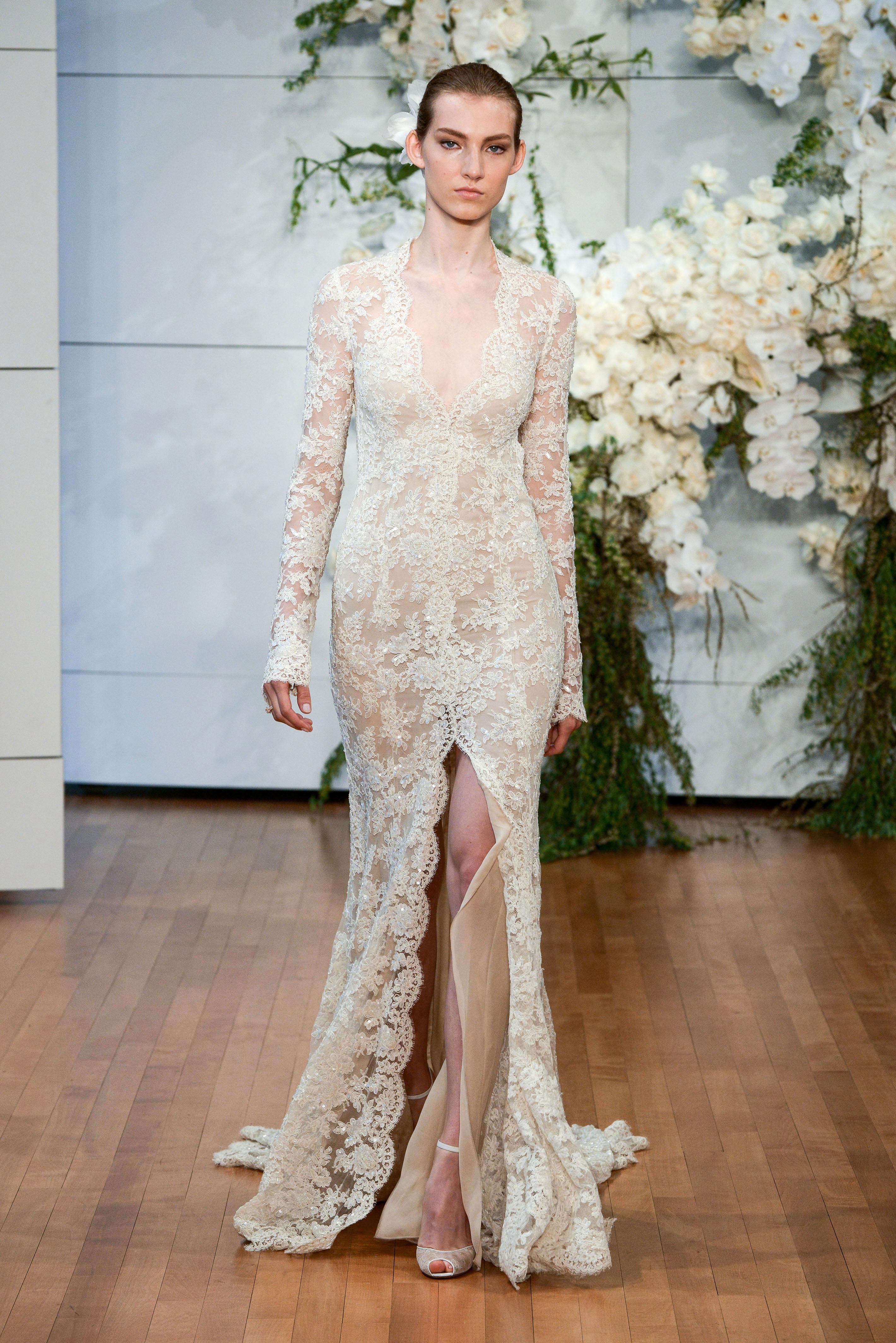 monique lhuillier long sleeves v-neck lace wedding dress spring 2018