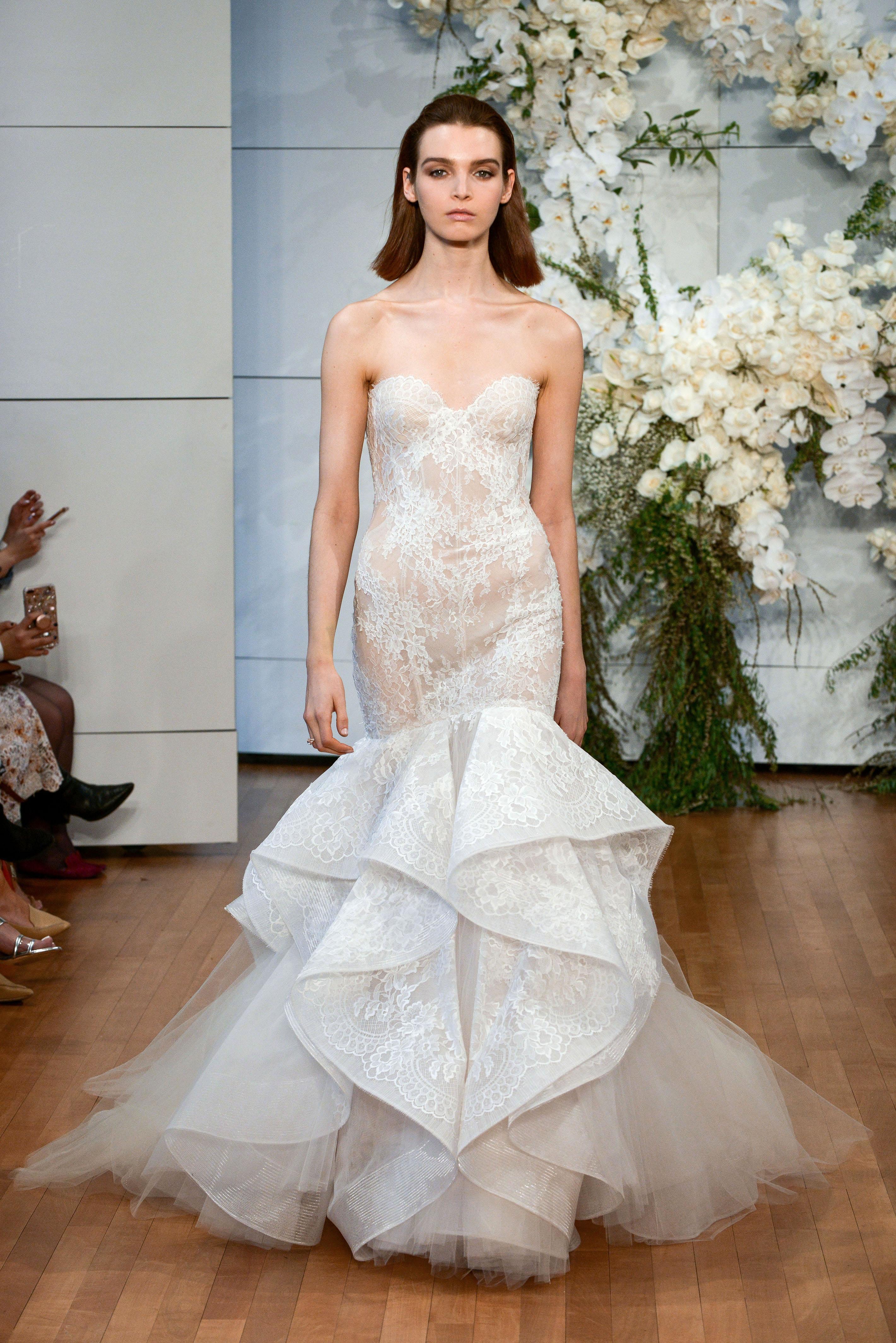 monique lhuillier lace ruffled mermaid wedding dress spring 2018