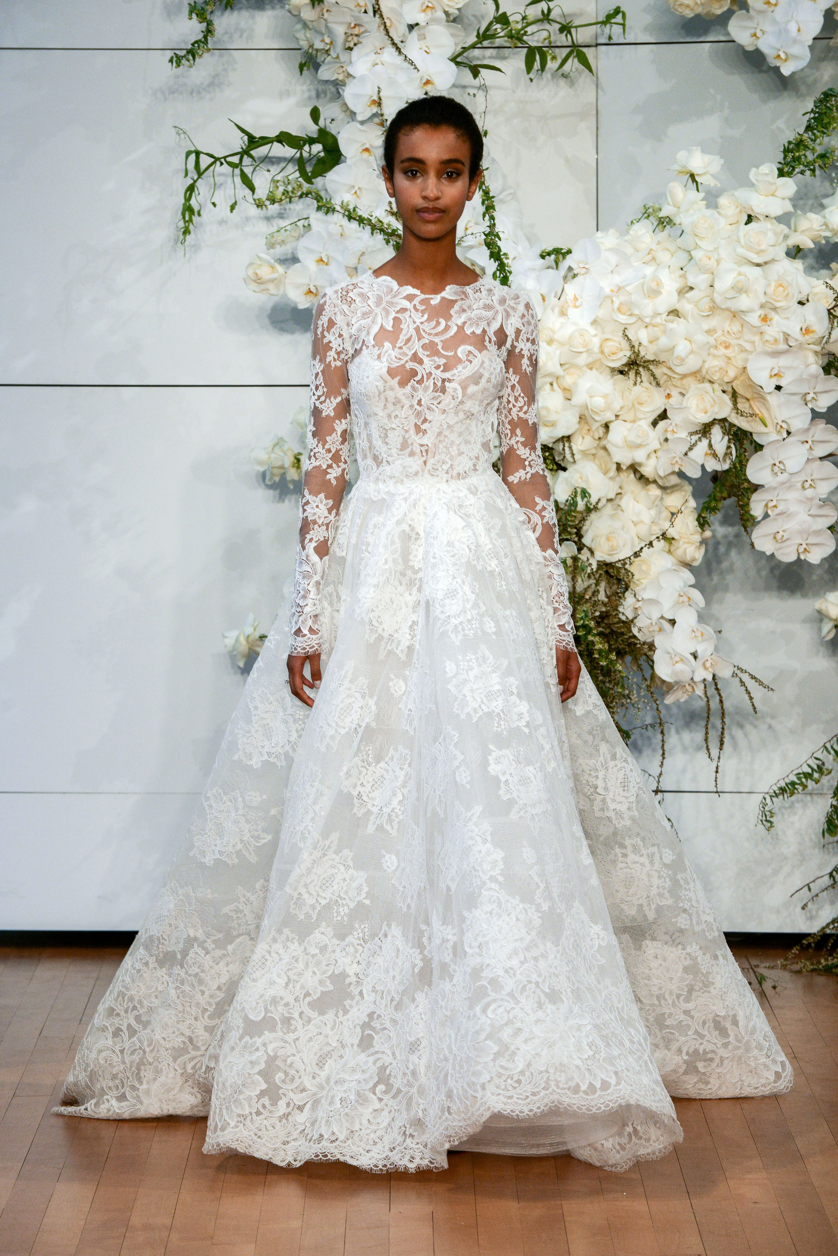 monique lhuillier long sleeves lace a-line wedding dress spring 2018
