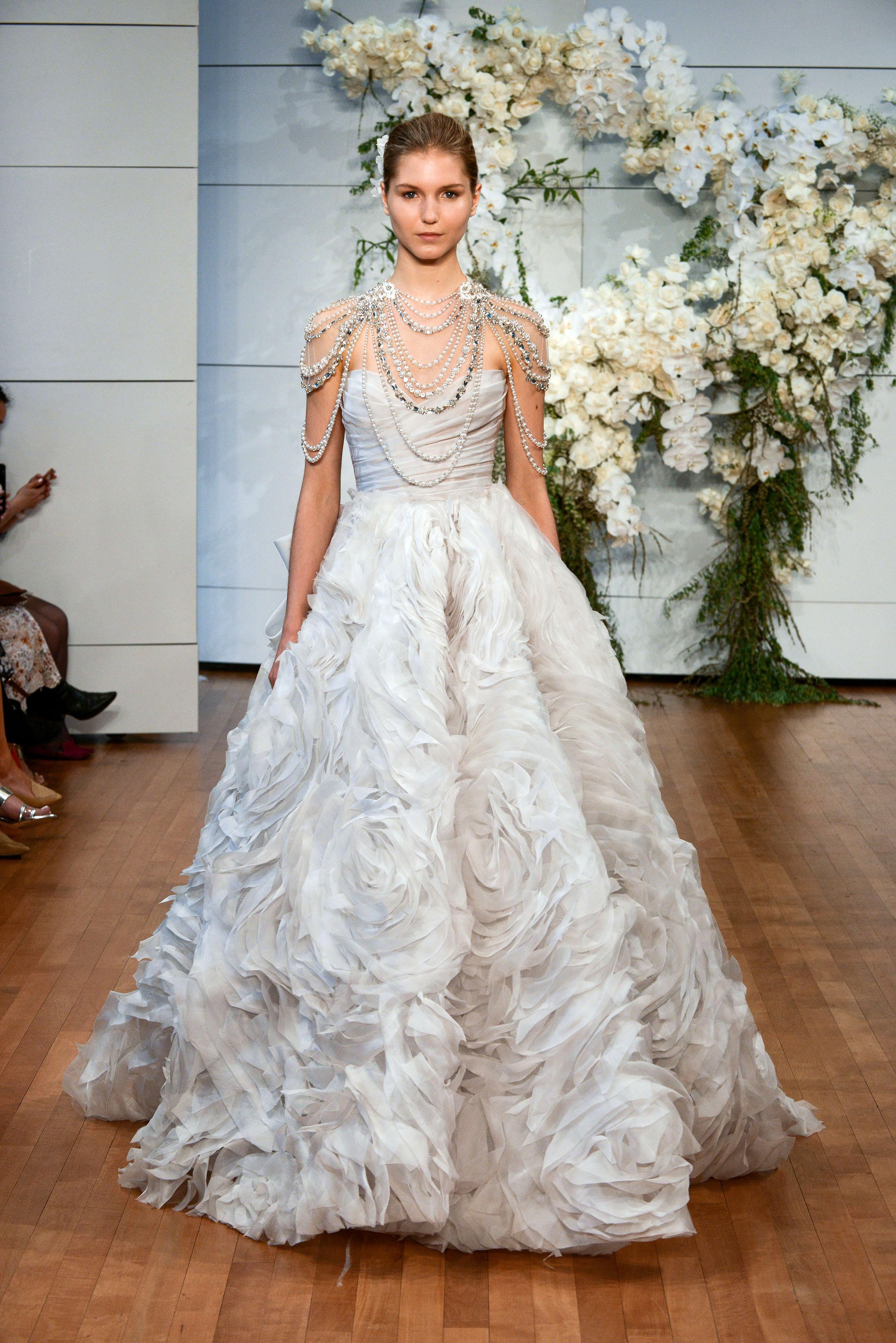 monique lhuillier sweetheart ballgown flower texture wedding dress spring 2018