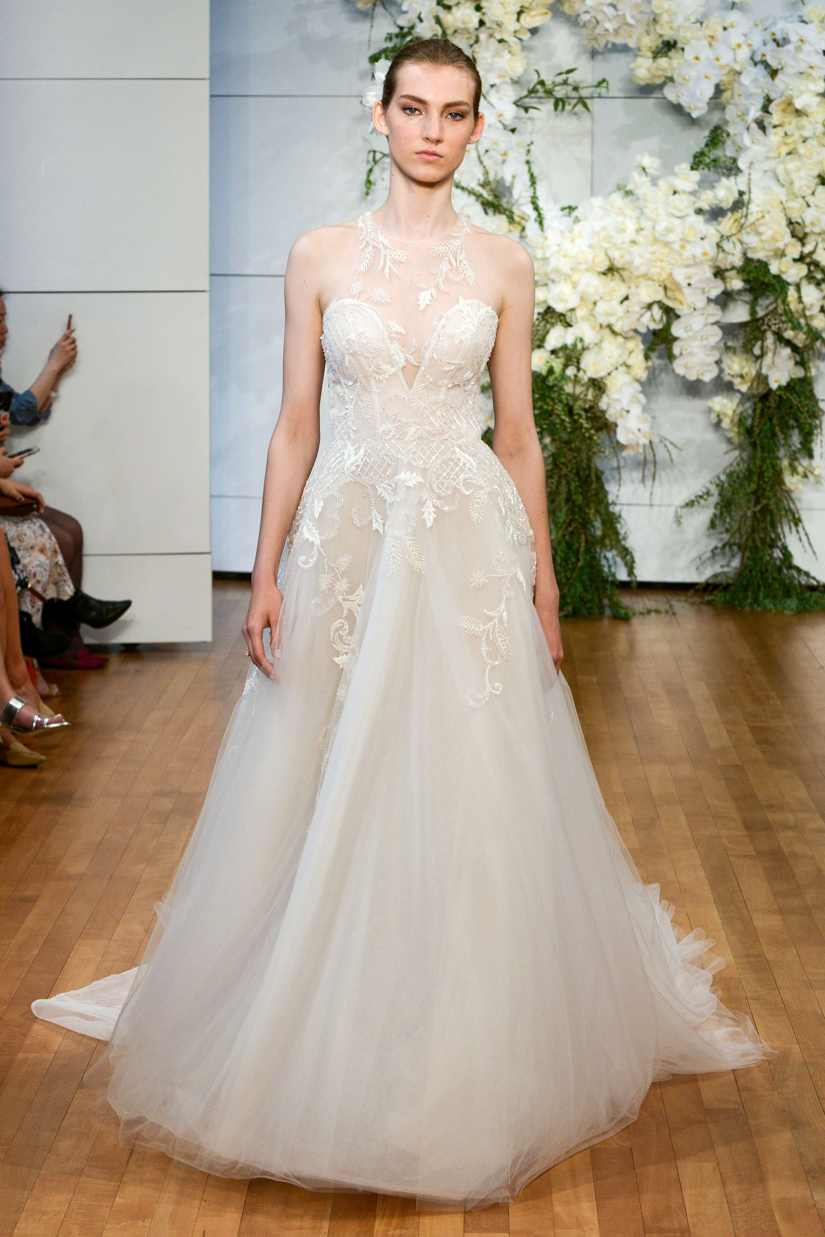 monique lhuillier illusion tulle a-line wedding dress spring 2018
