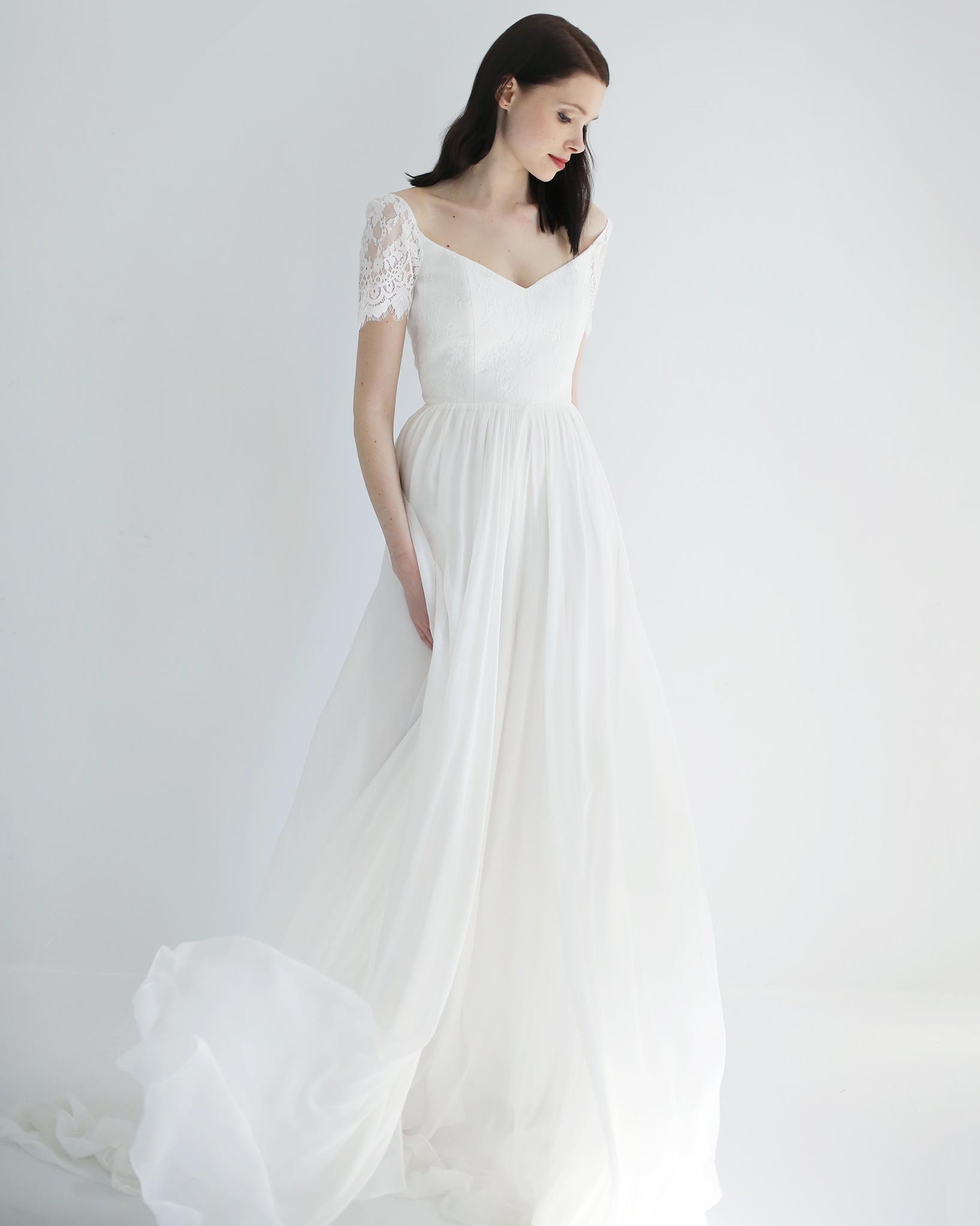 short sleeve a-line leanne marshall wedding dress spring2018