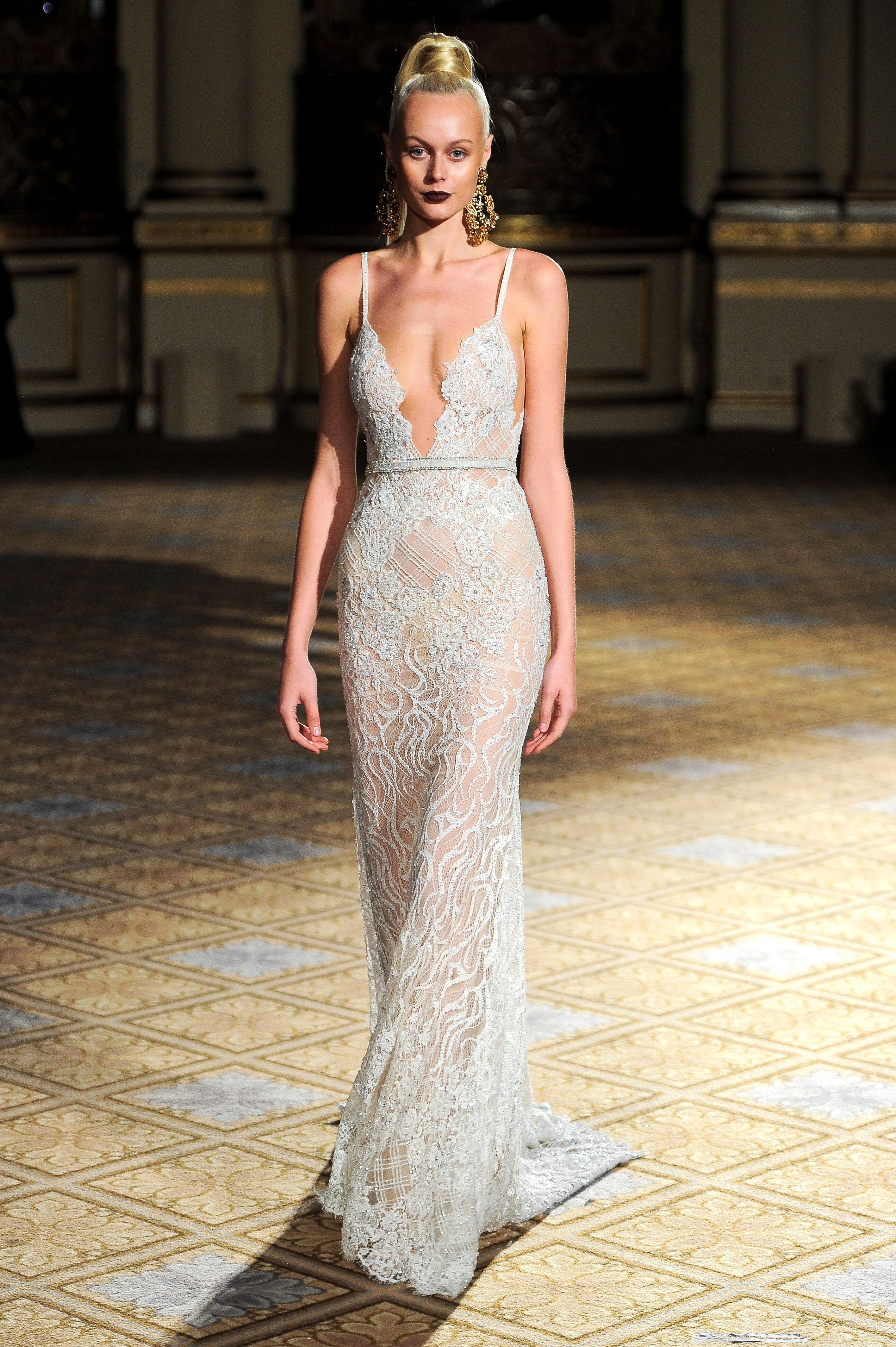 berta spaghetti strap v-neck lace wedding dress spring 2018
