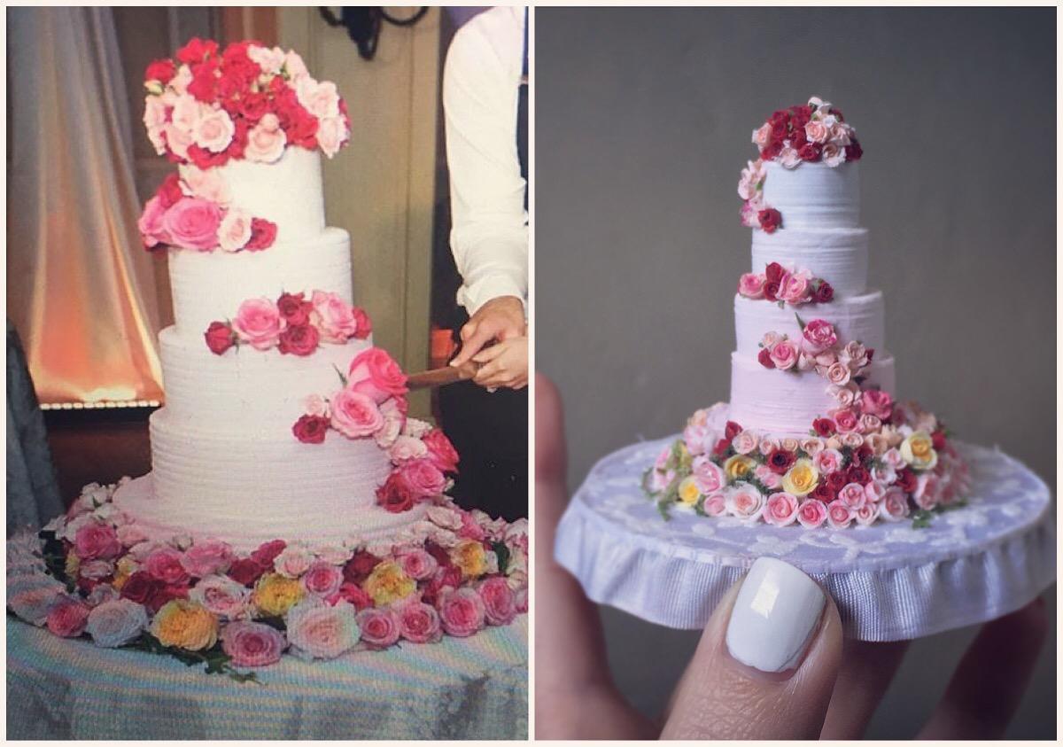 miniature rose covered cake