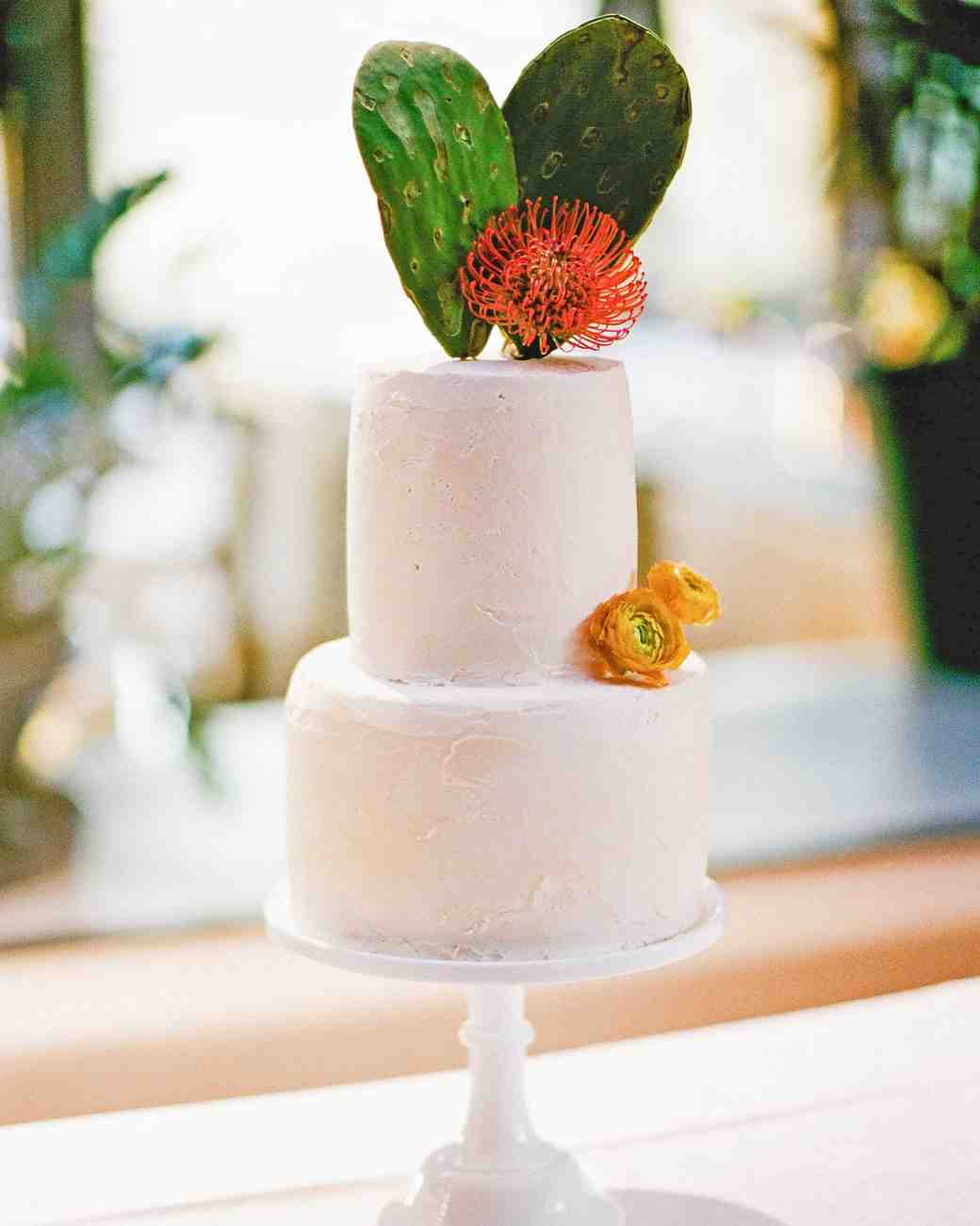 Wedding Cake with Cactus Topper