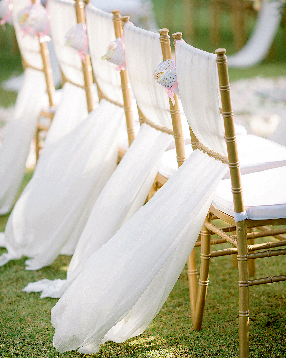ladderback chairs woven with breezy tulle