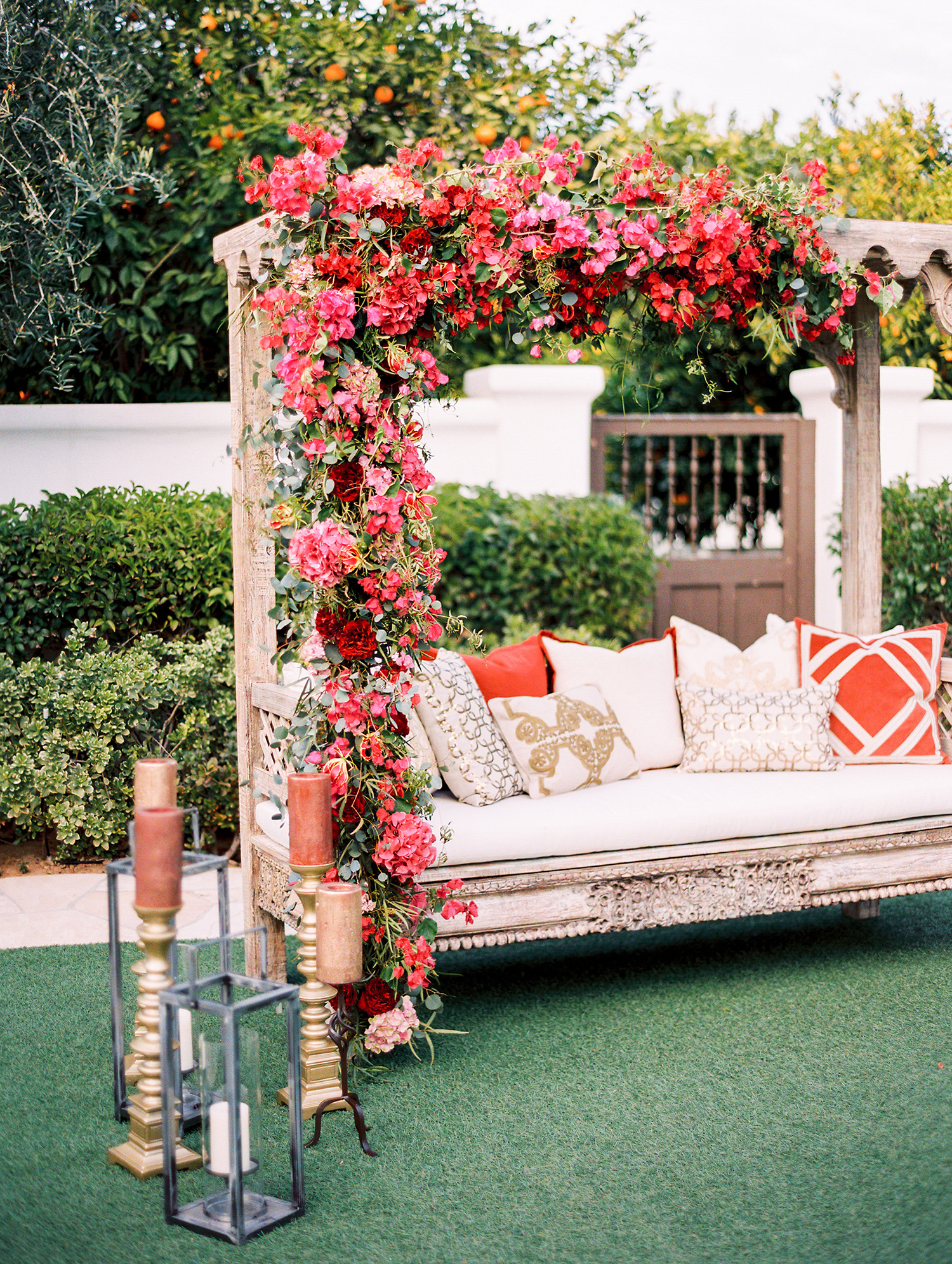 wedding lounge beige couch with flowering pergola