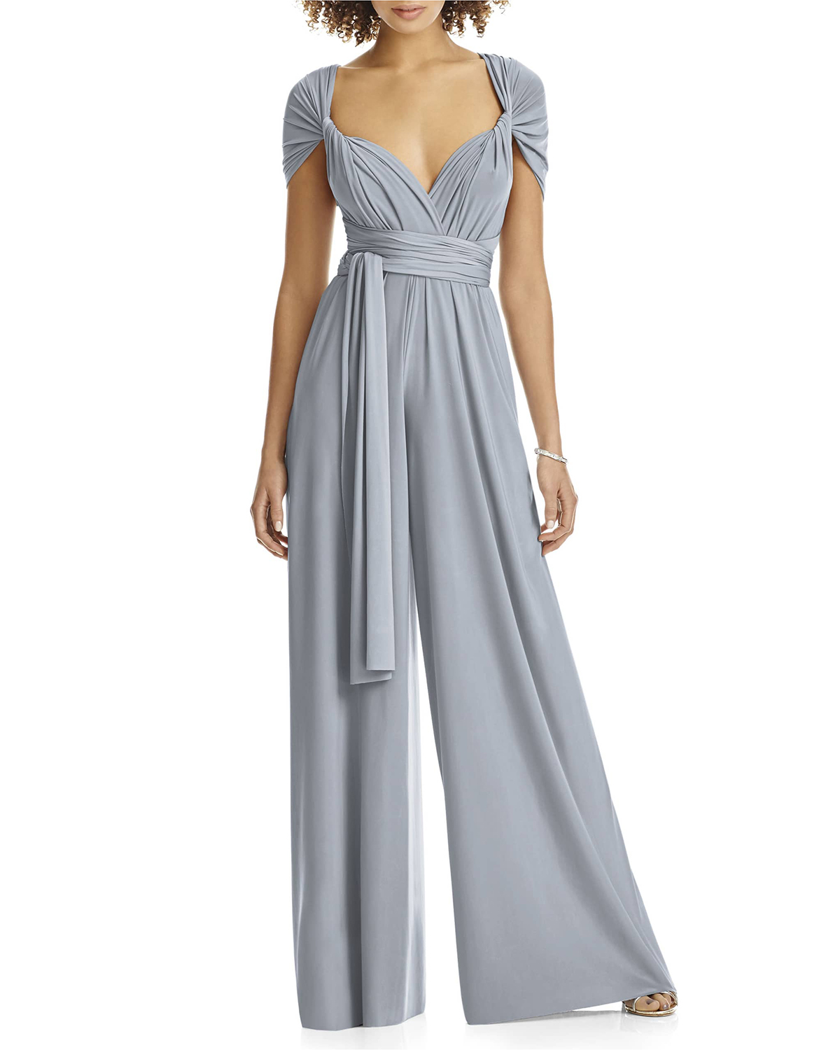 gray Convertible Wide Leg Jersey Jumpsuit