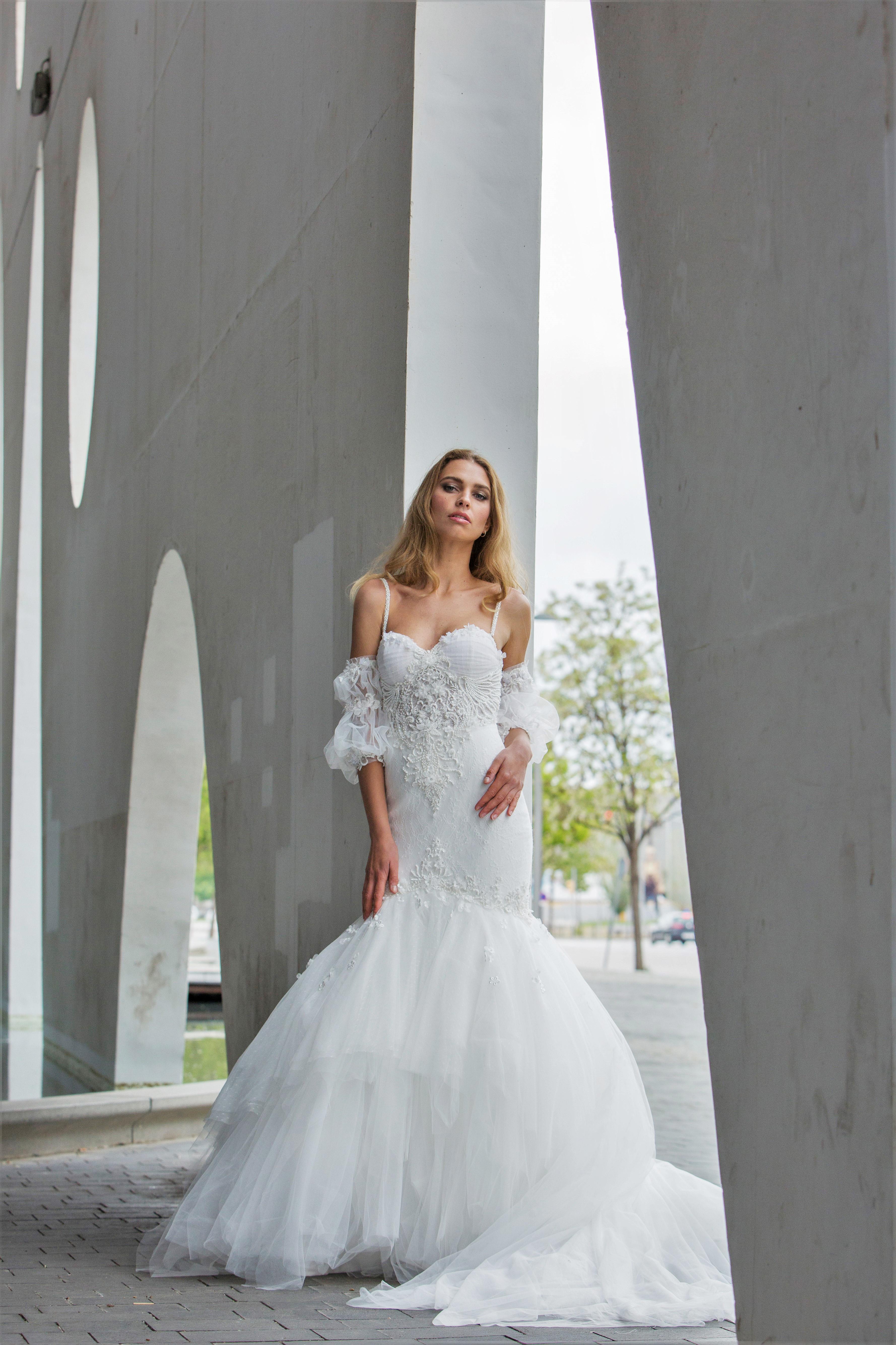 spaghetti strap with sweetheart neckline mermaid persy wedding dress spring2018