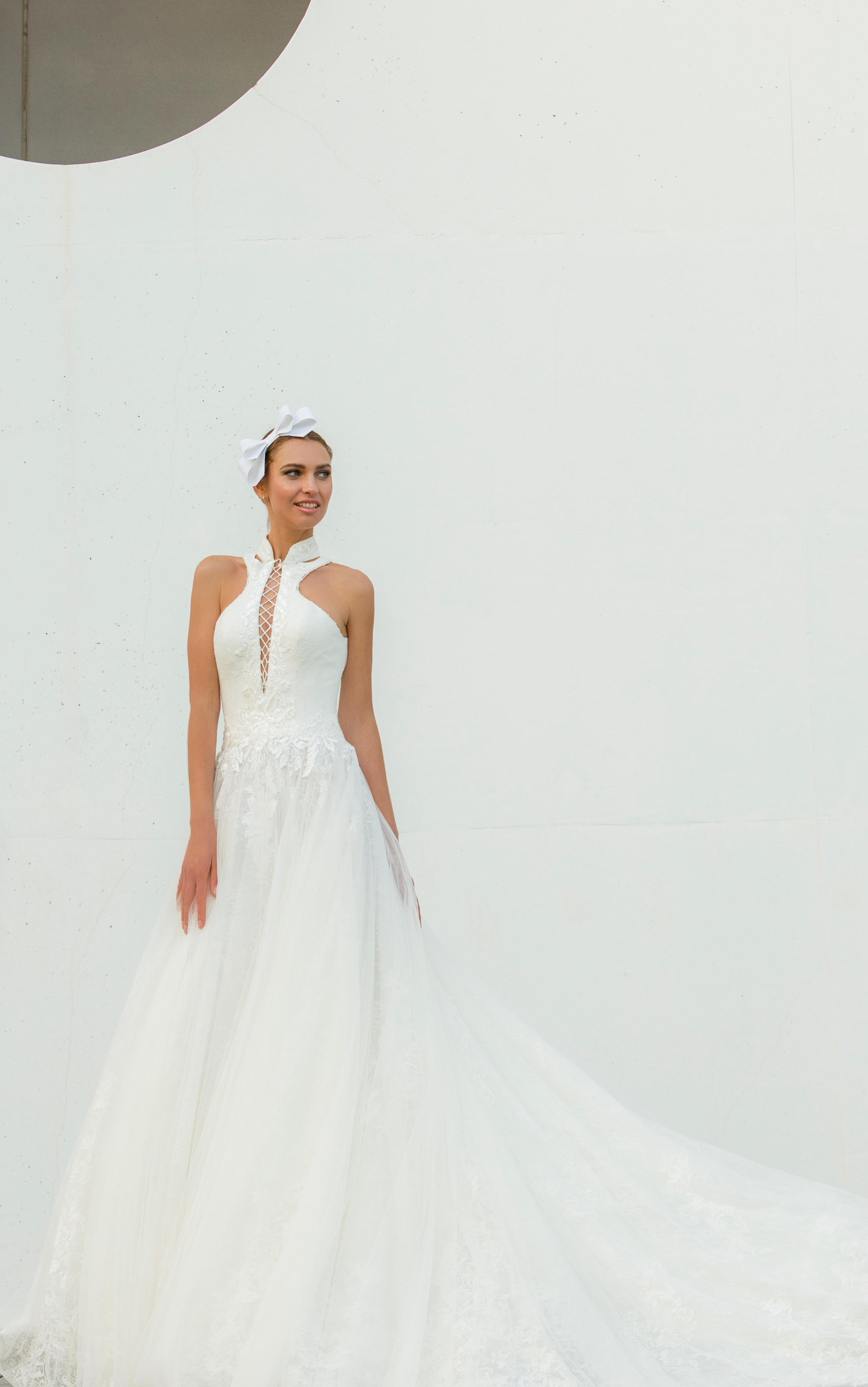 high neck lace-up a-line persy wedding dress spring2018