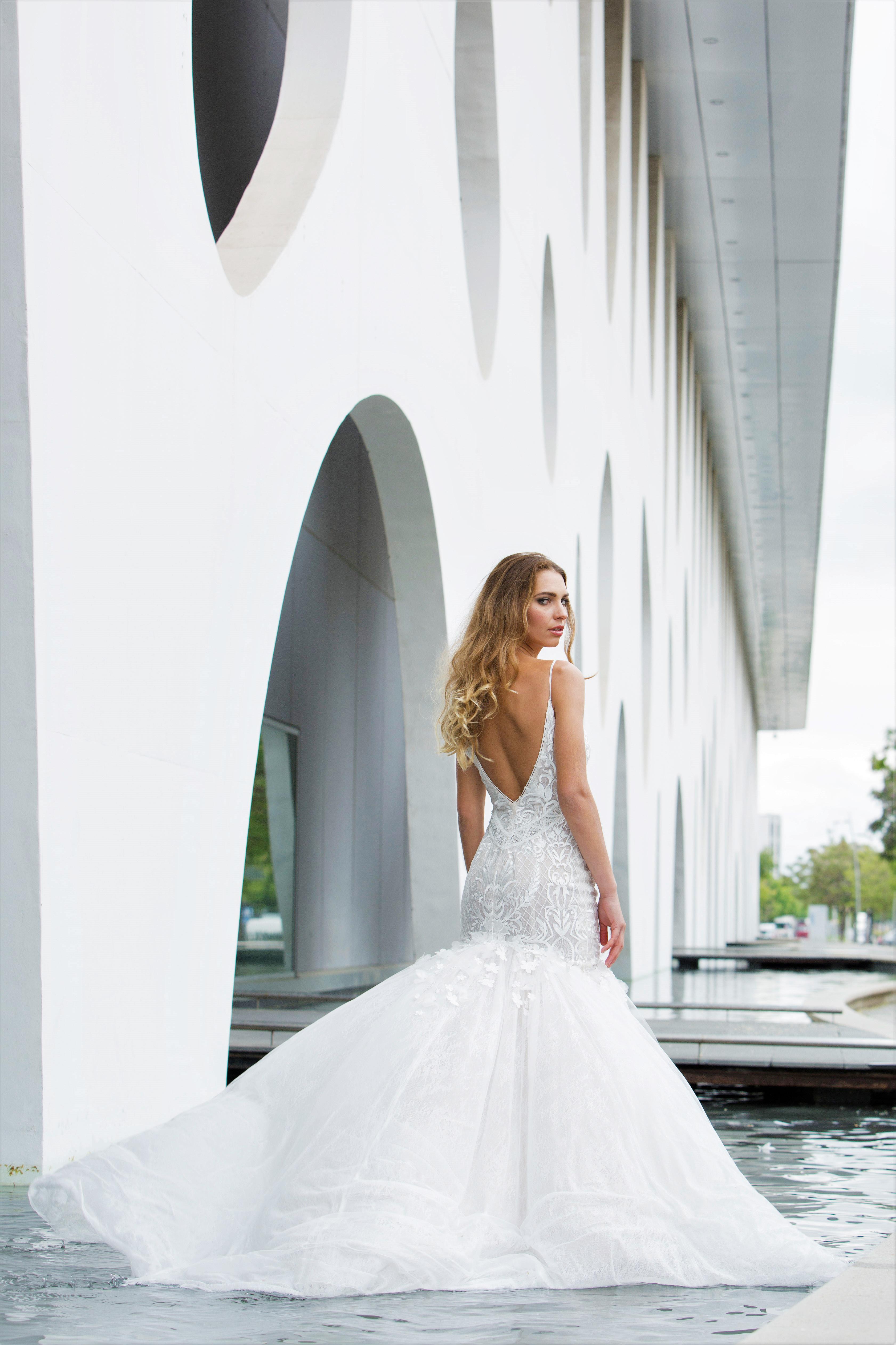 spaghetti strap lace trumpet persy wedding dress spring2018