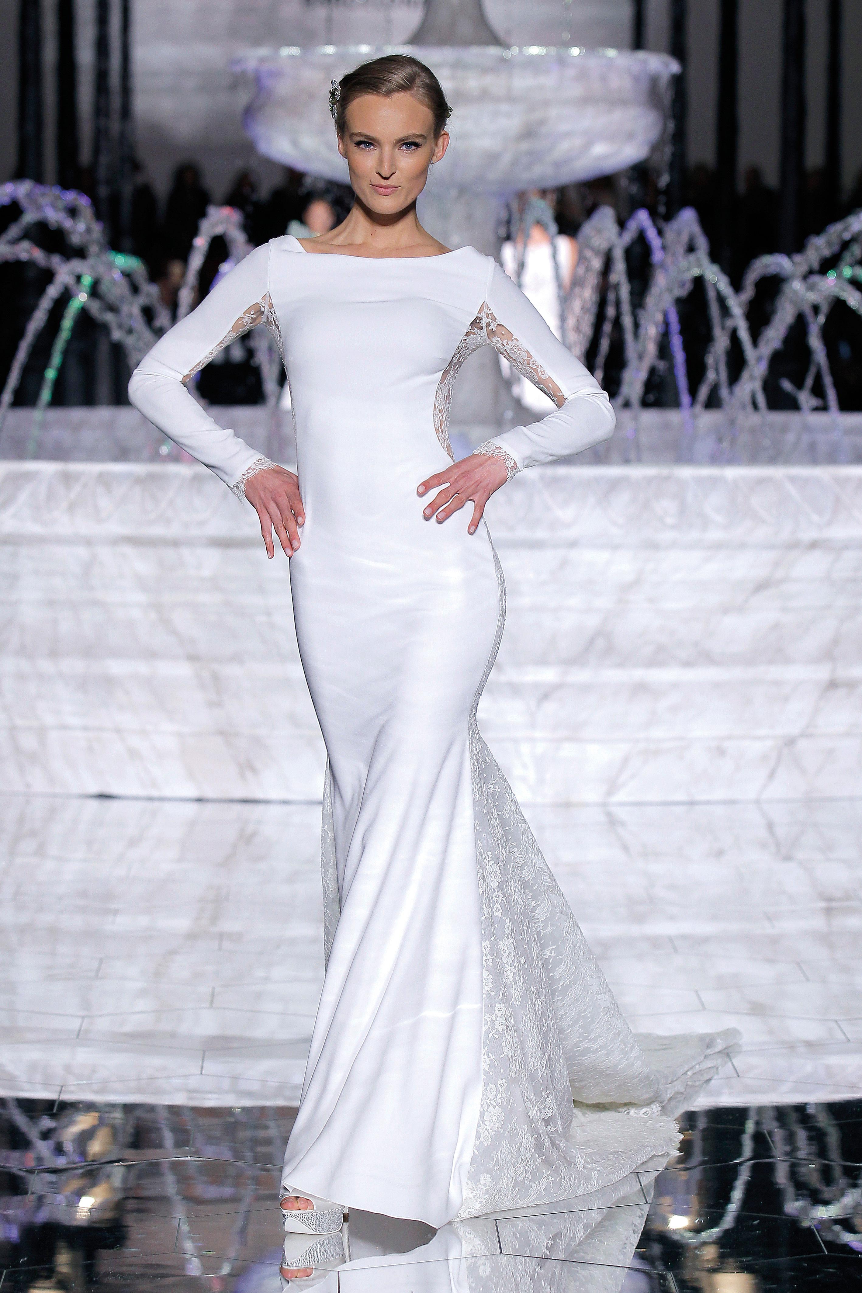 pronovias long sleeved sheath wedding dress spring 2018