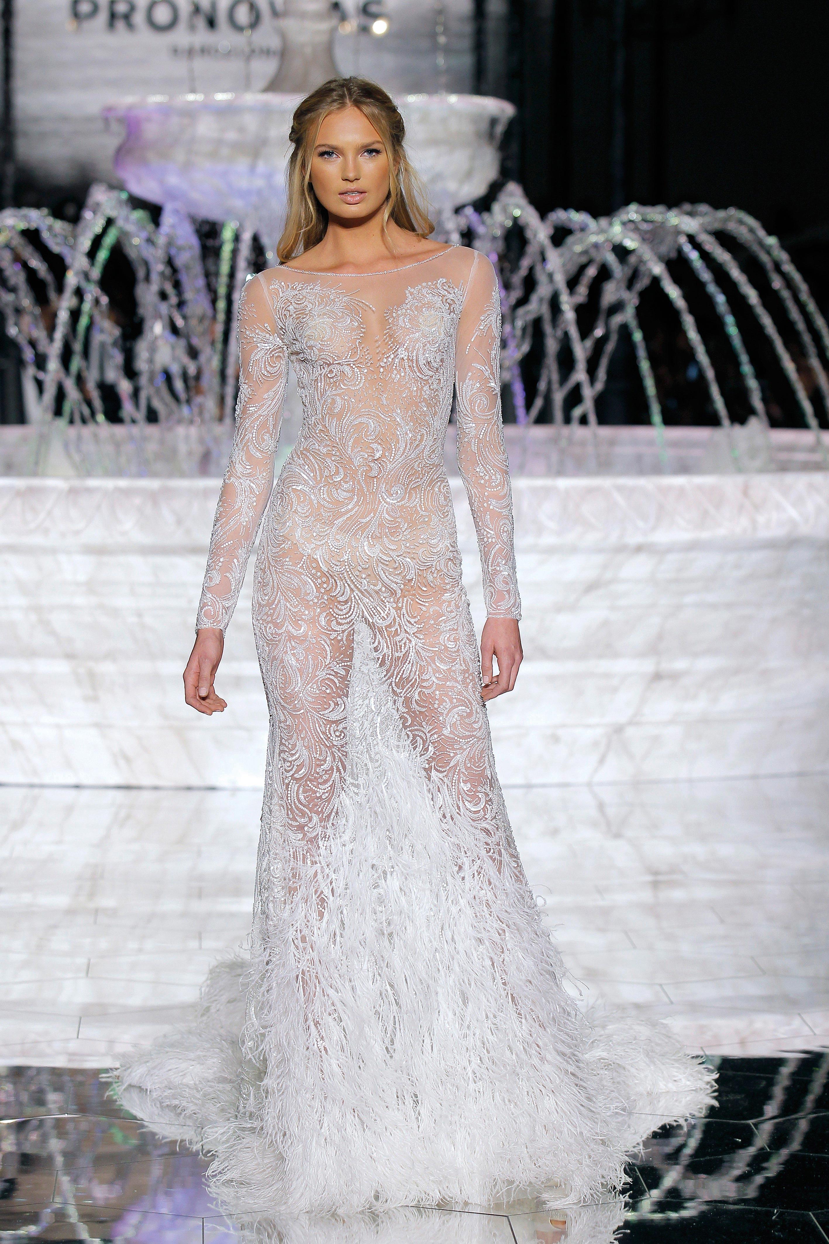 pronovias sheer long sleeve wedding dress spring 2018