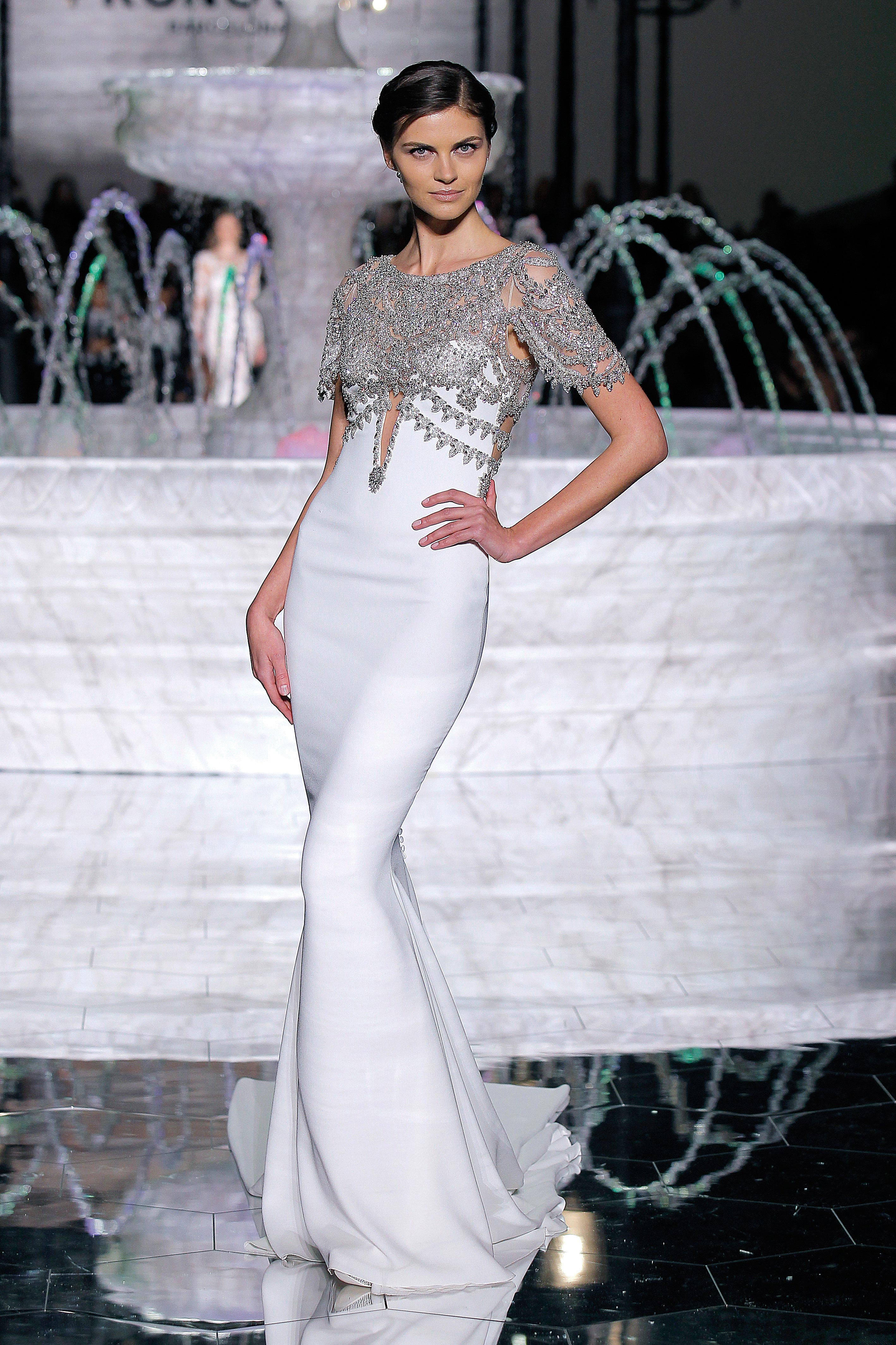 pronovias stylish sheath wedding dress spring 2018