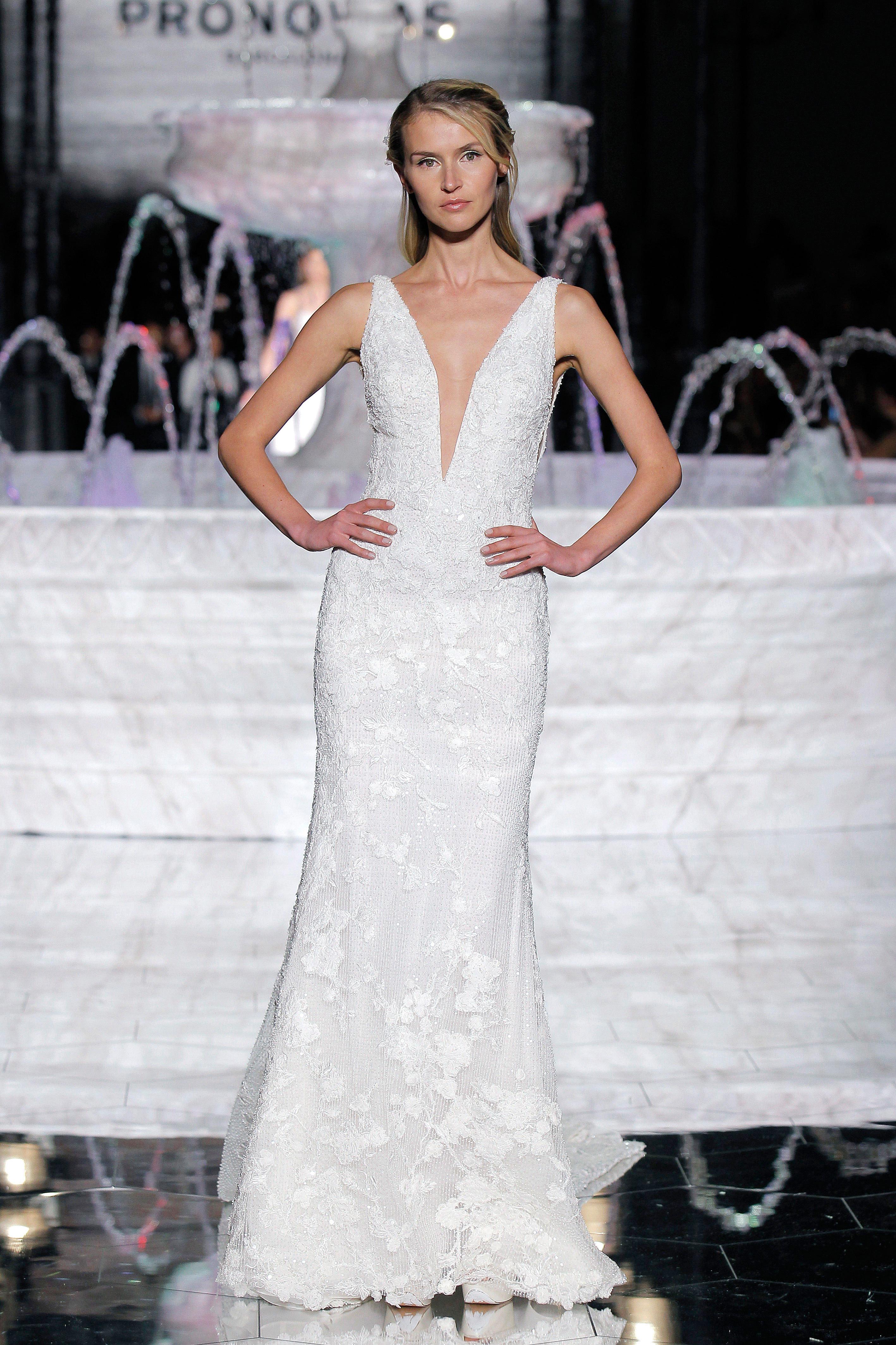 pronovias wide v-neck wedding dress spring 2018
