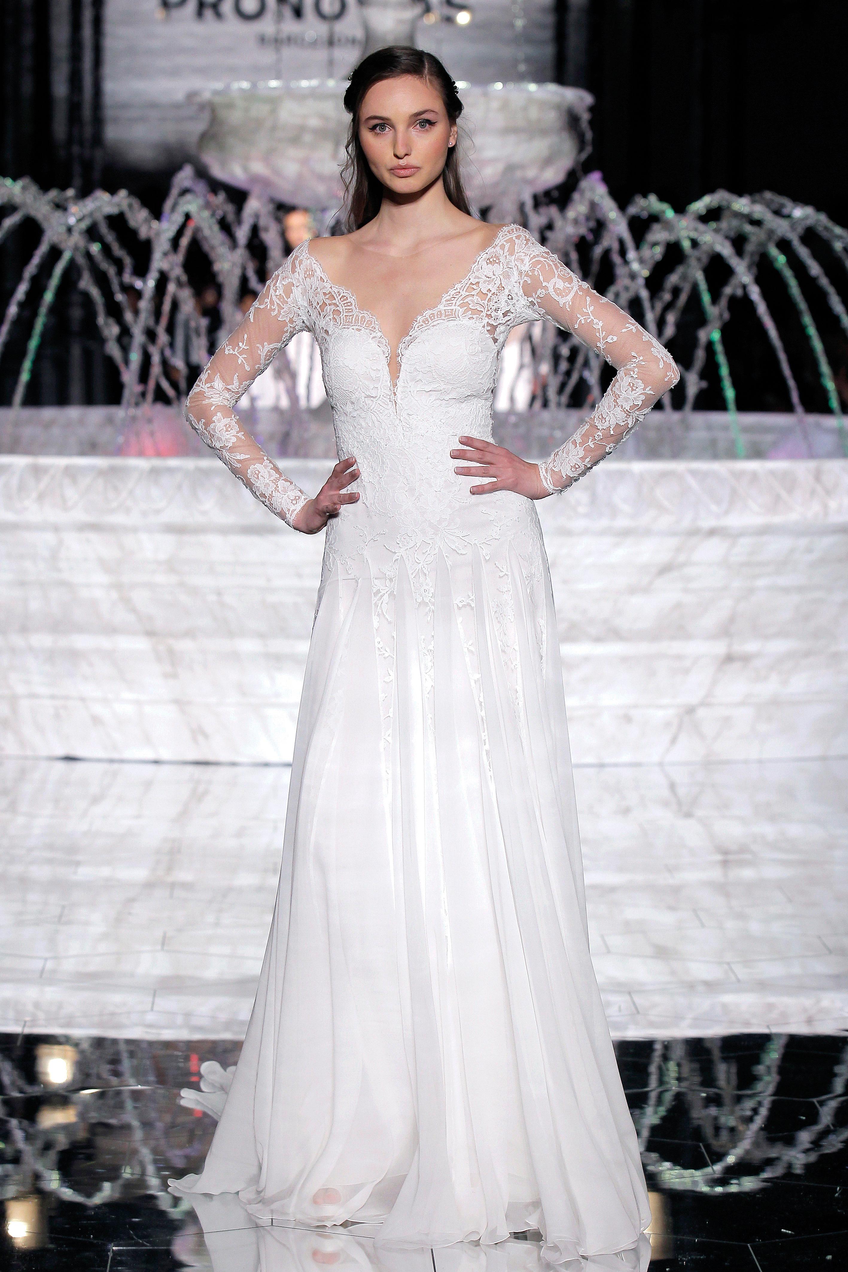 pronovias sheer long sleeves wedding dress spring 2018