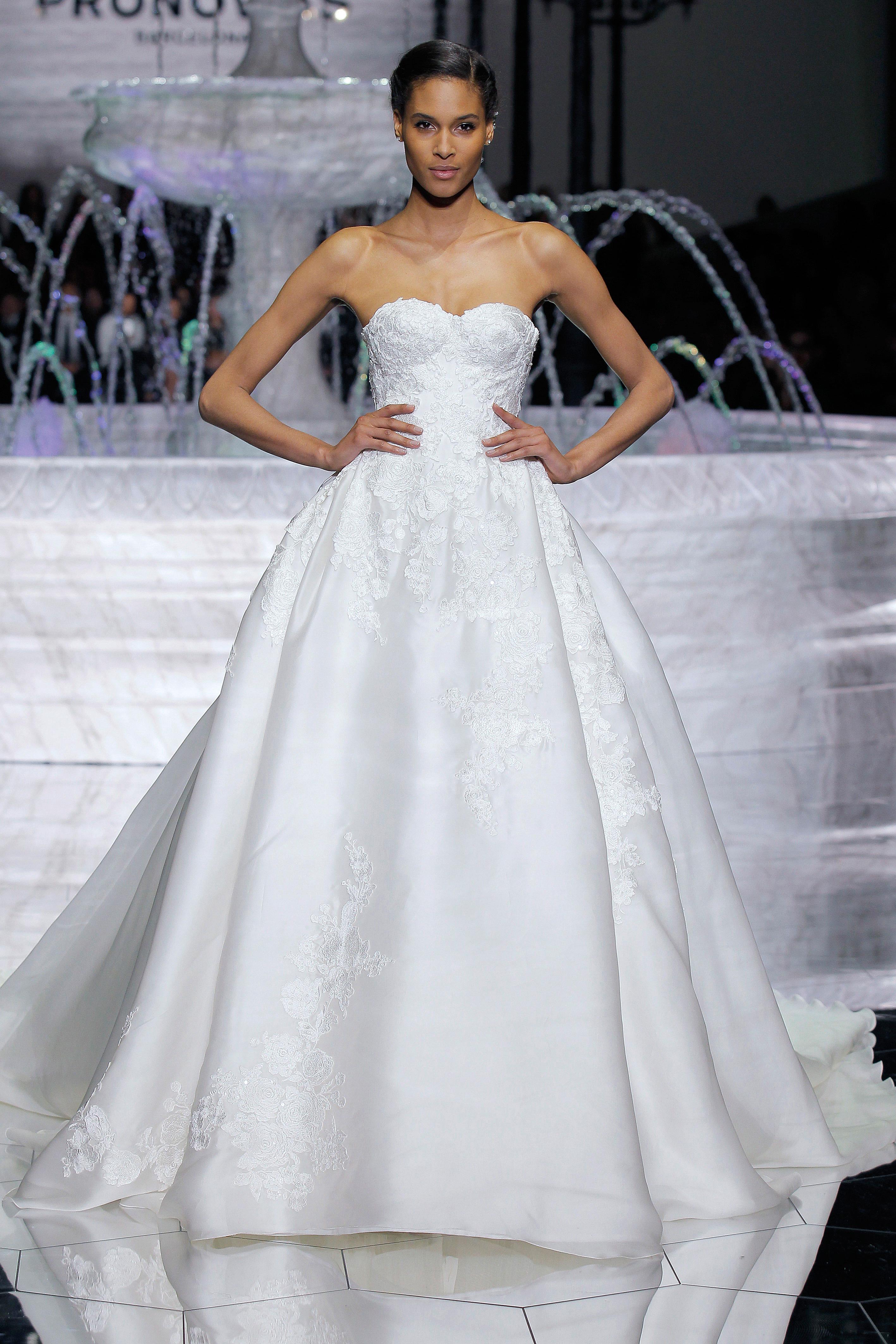 pronovias strapless a-line wedding dress spring 2018