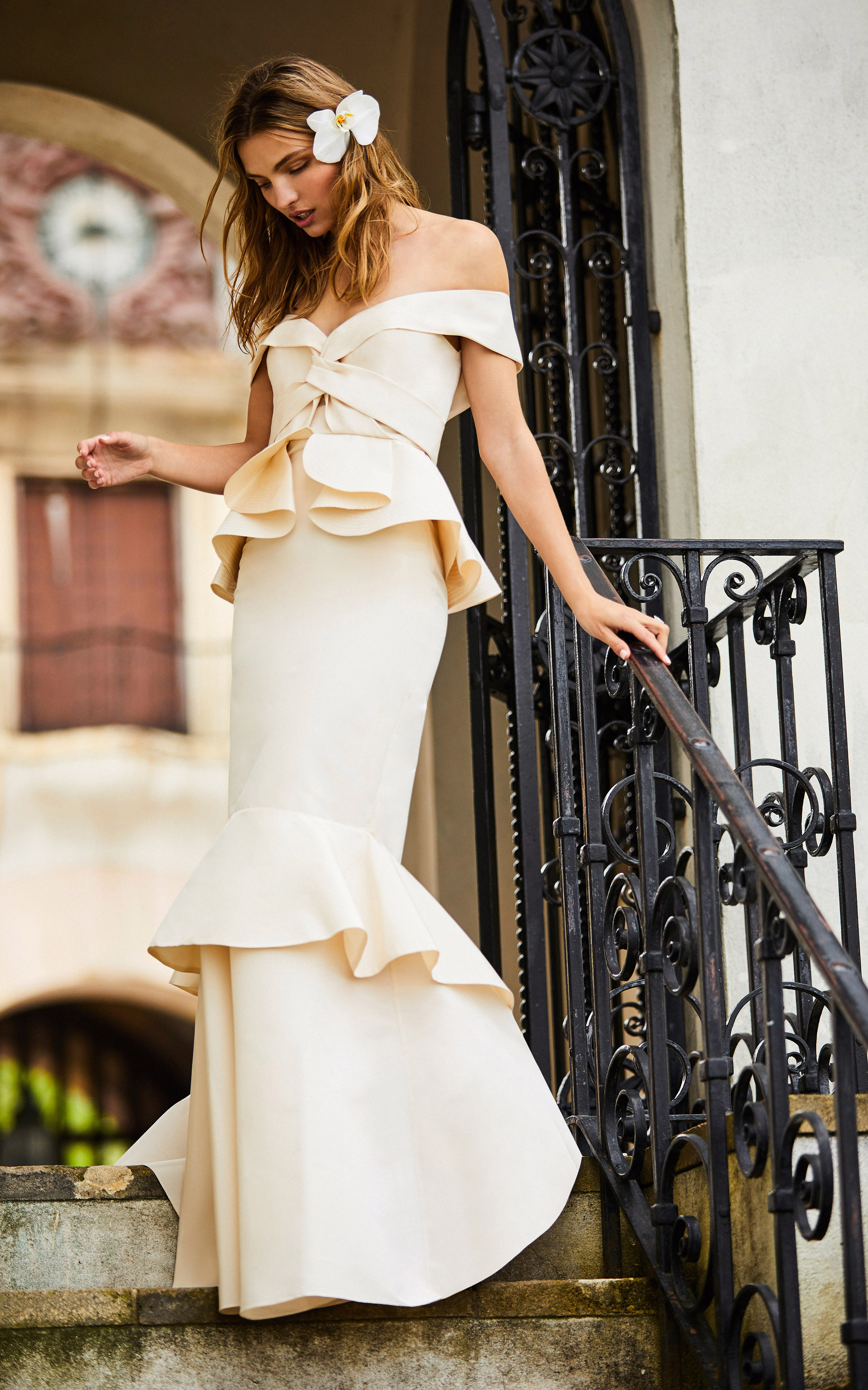 johanna ortiz moda operandi peplum mermaid off the shoulder wedding dress