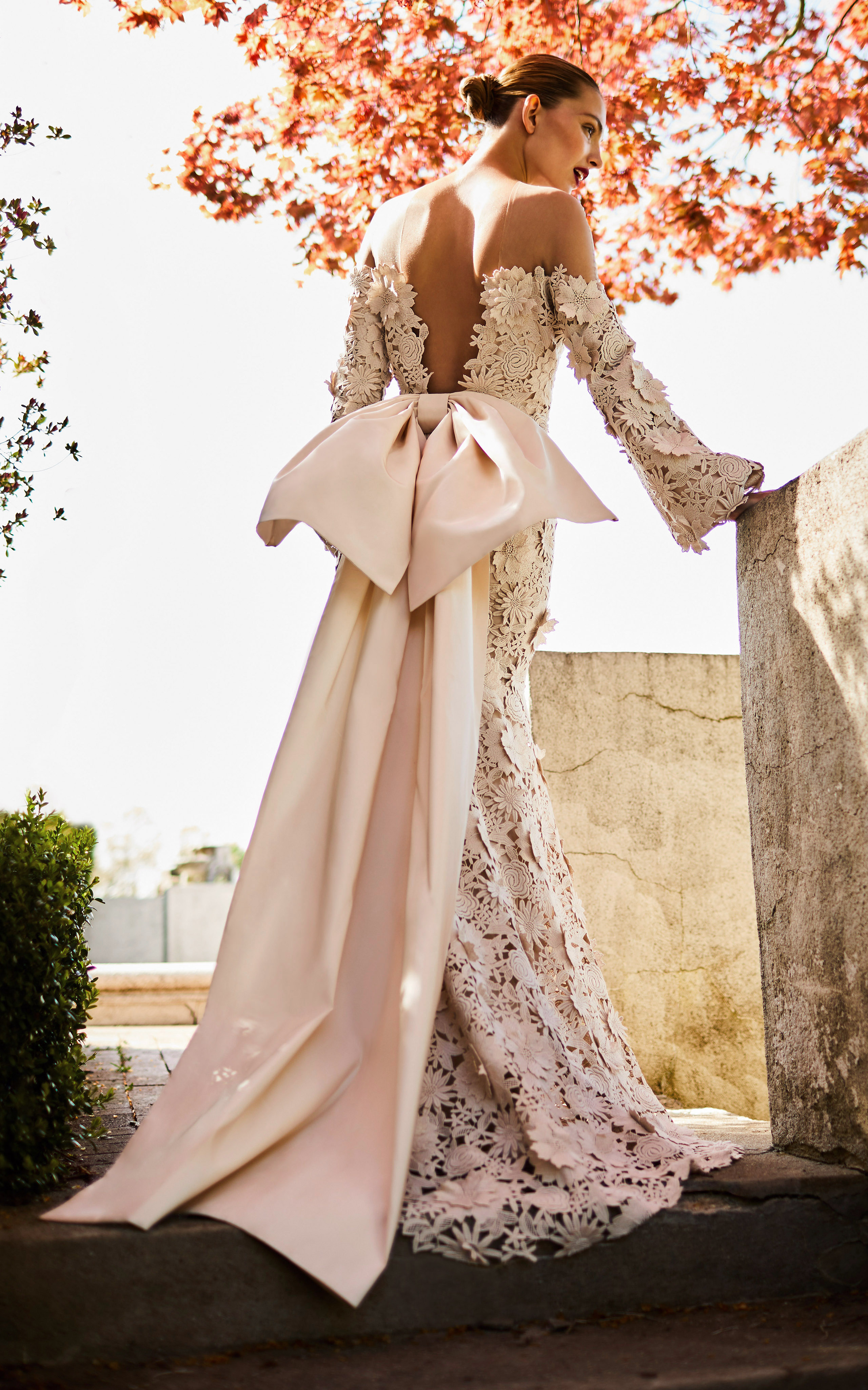 johanna ortiz moda operandi lace bow off the shoulder long sleeves wedding dress