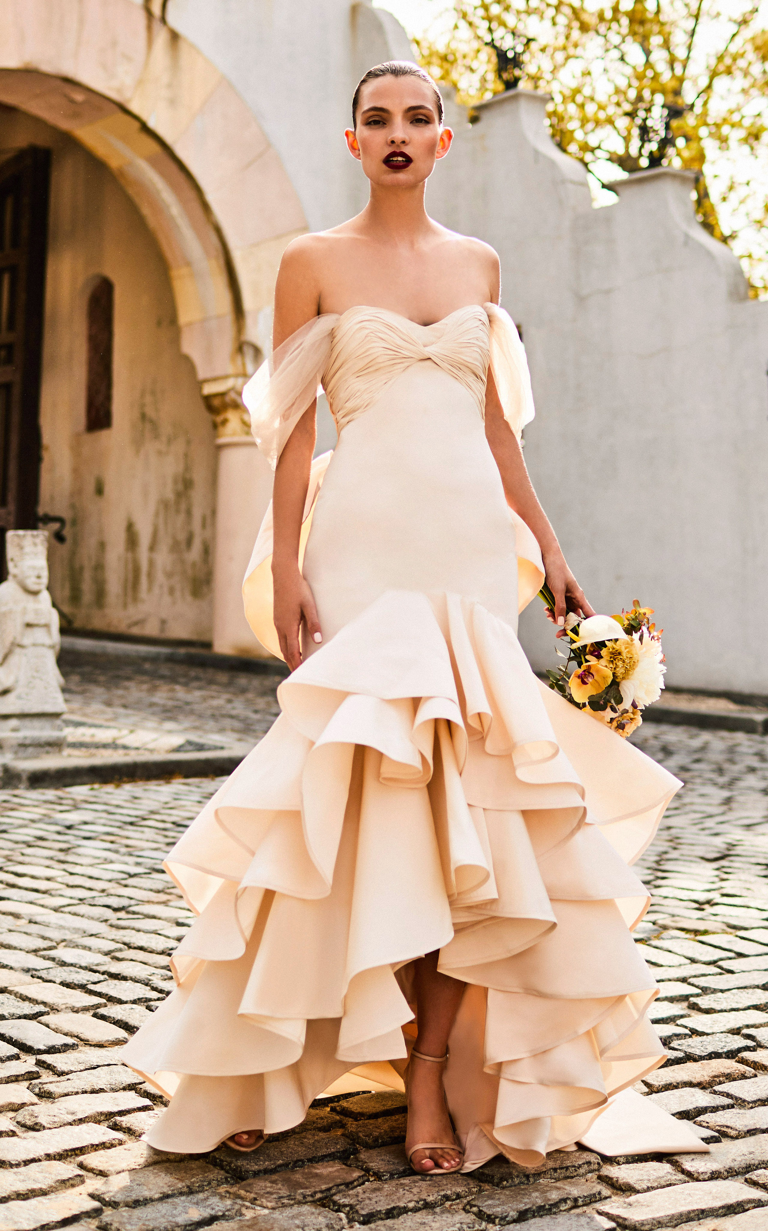 johanna ortiz moda operandi off the shoulder ruffle high low hem wedding dress