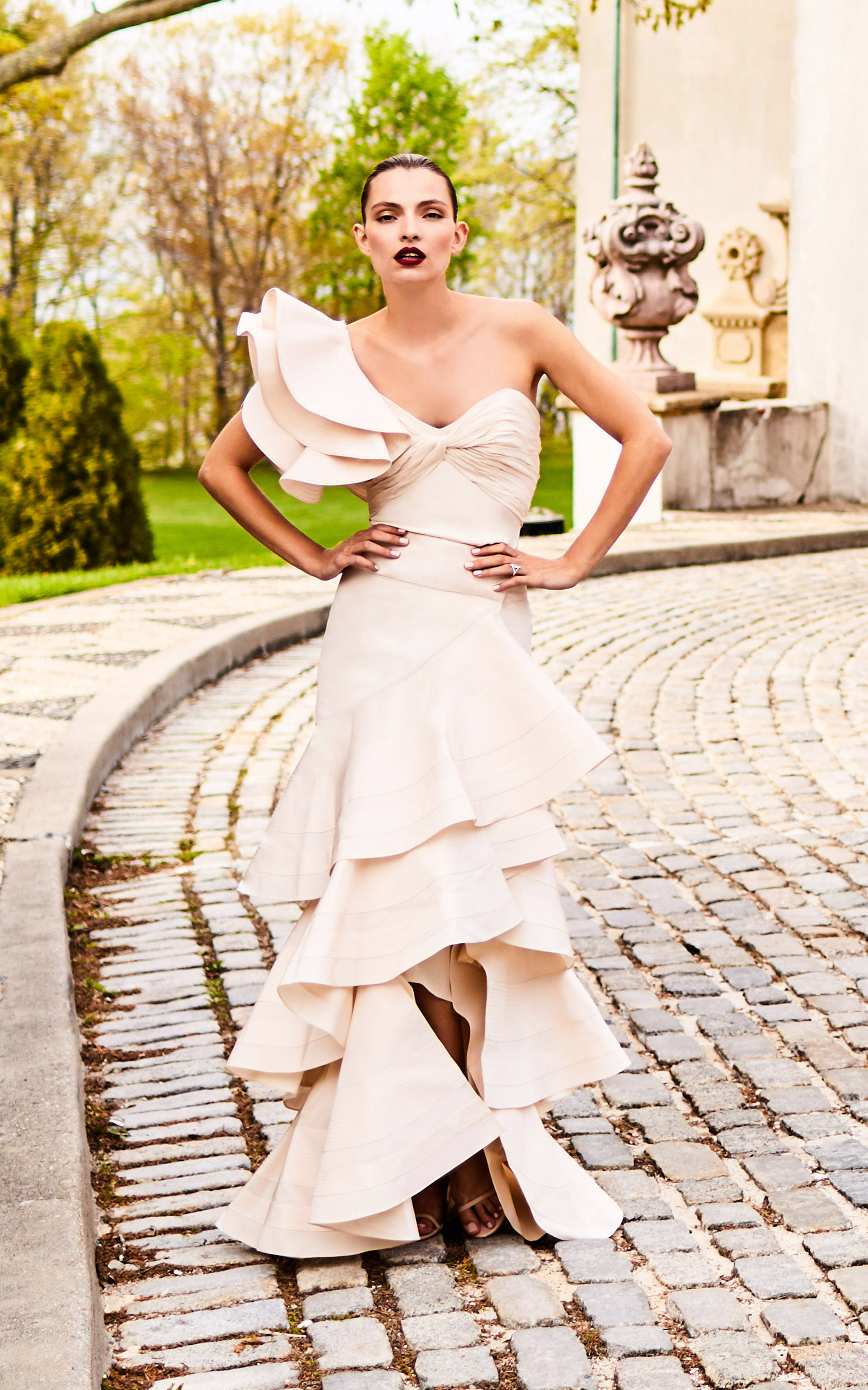 johanna ortiz moda operandi one shoulder ruffle wedding dress