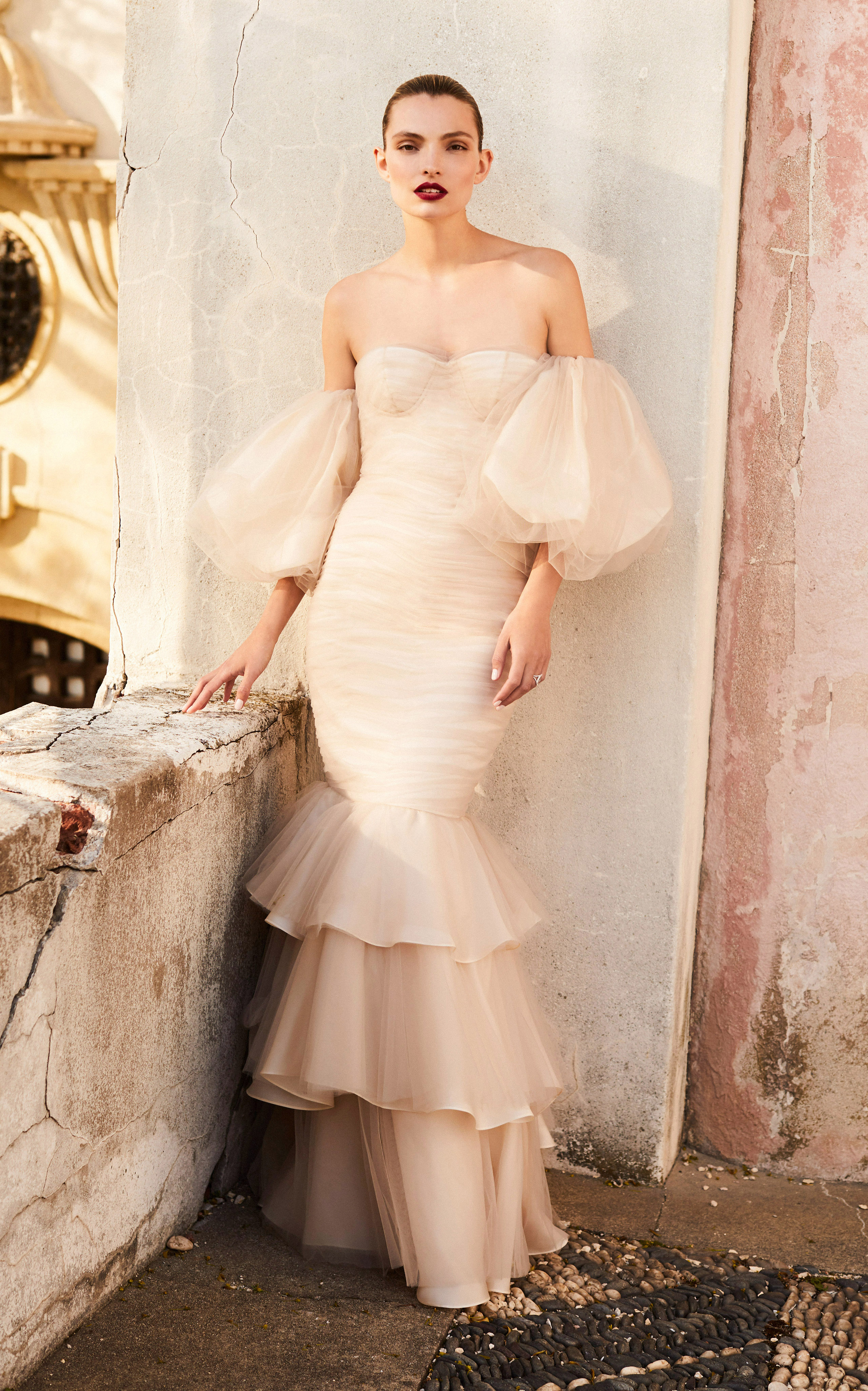 johanna ortiz moda operandi off the shoulder ruffle mermaid wedding dress