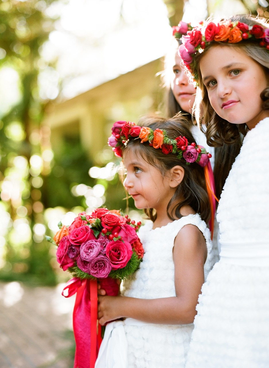 Flower Girls Wearing Floral Crowns