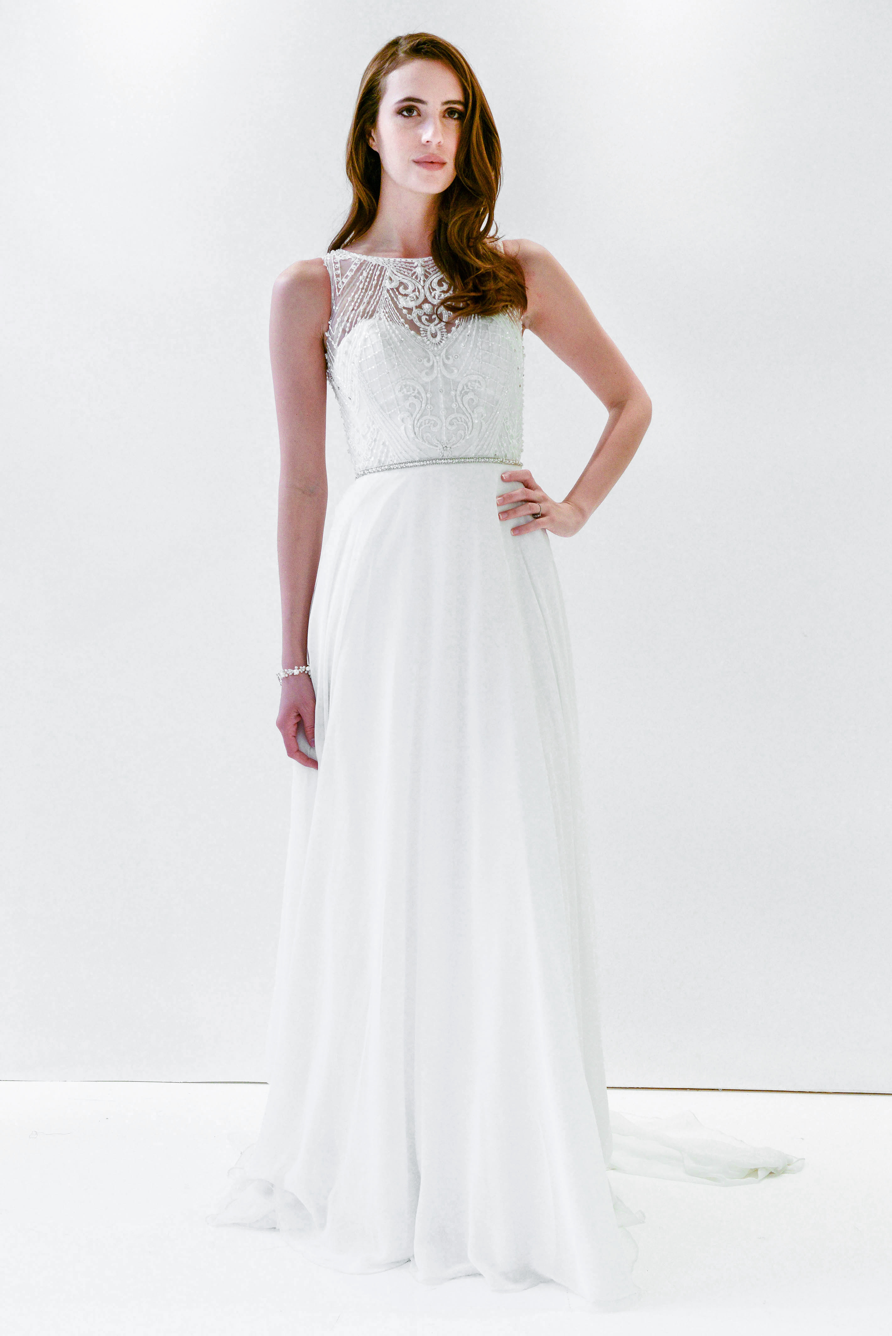 watters wtoo high neck embellished flowy wedding dress spring 2018