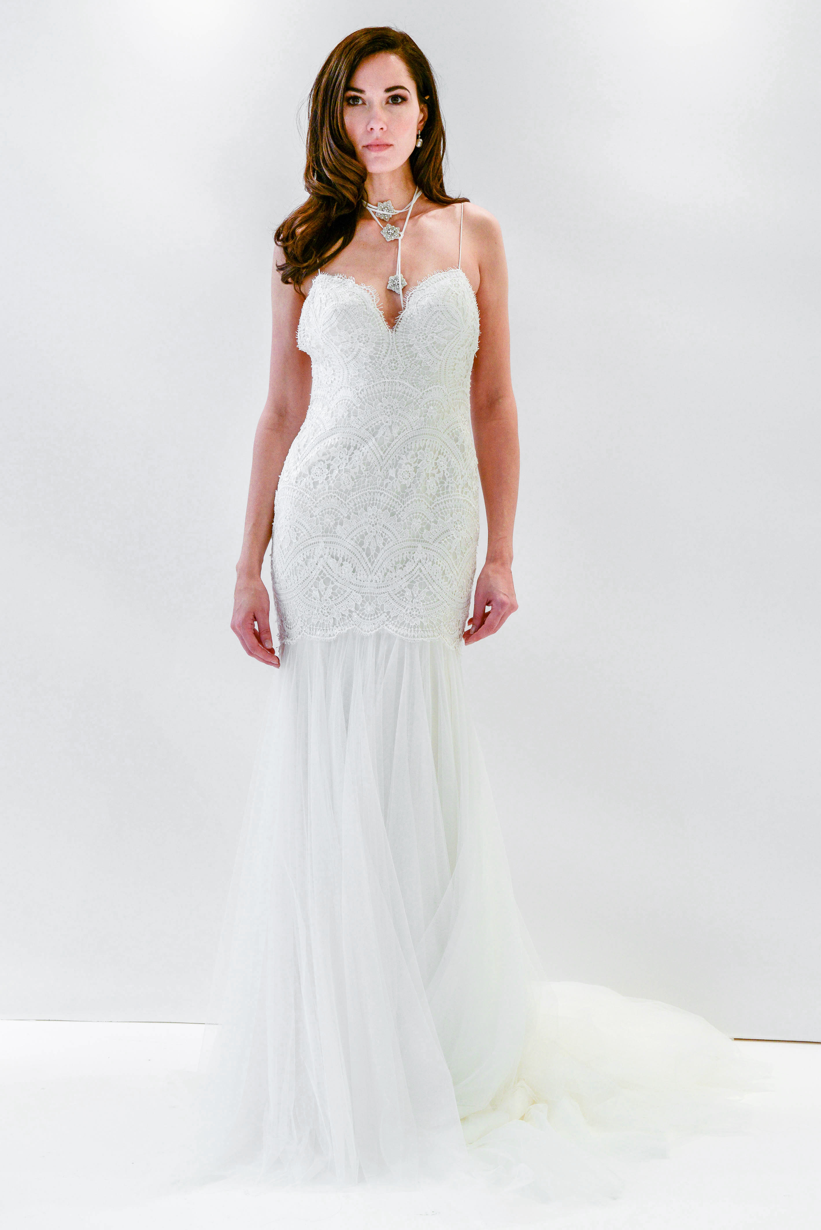 watters wtoo lace spaghetti strap trumpet wedding dress spring 2018