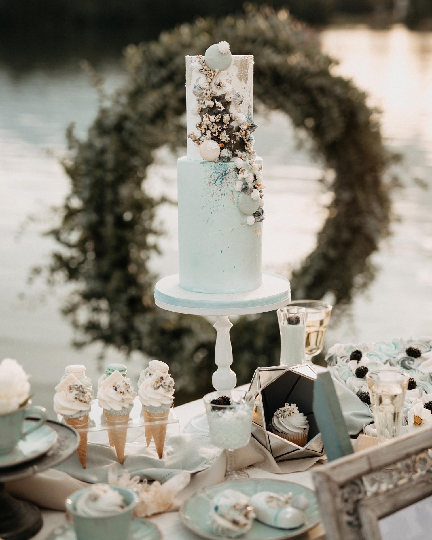dessert table with ice cream cones